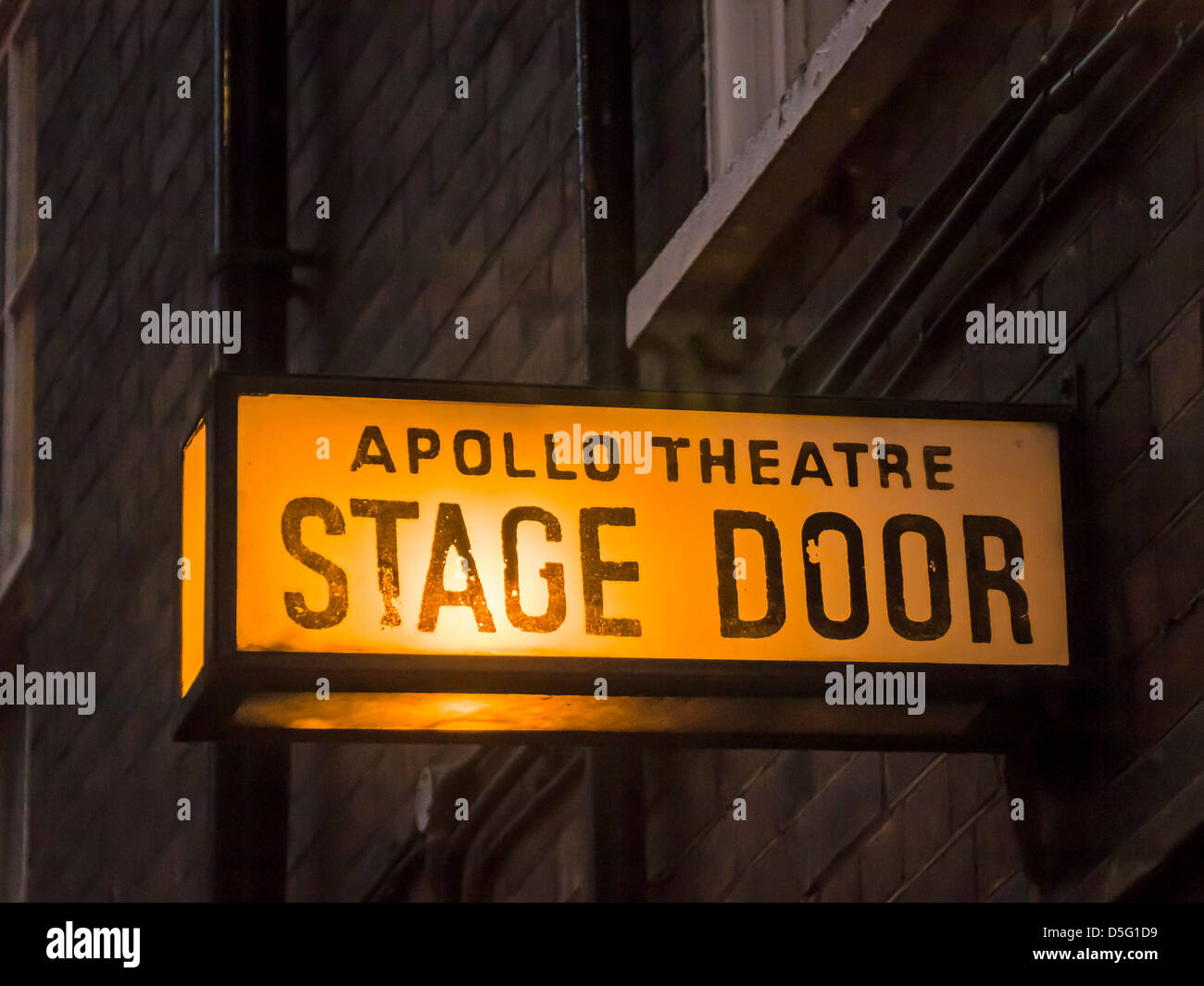 Sign at the Stage Door of the Apollo Theatre, London - Stock Image