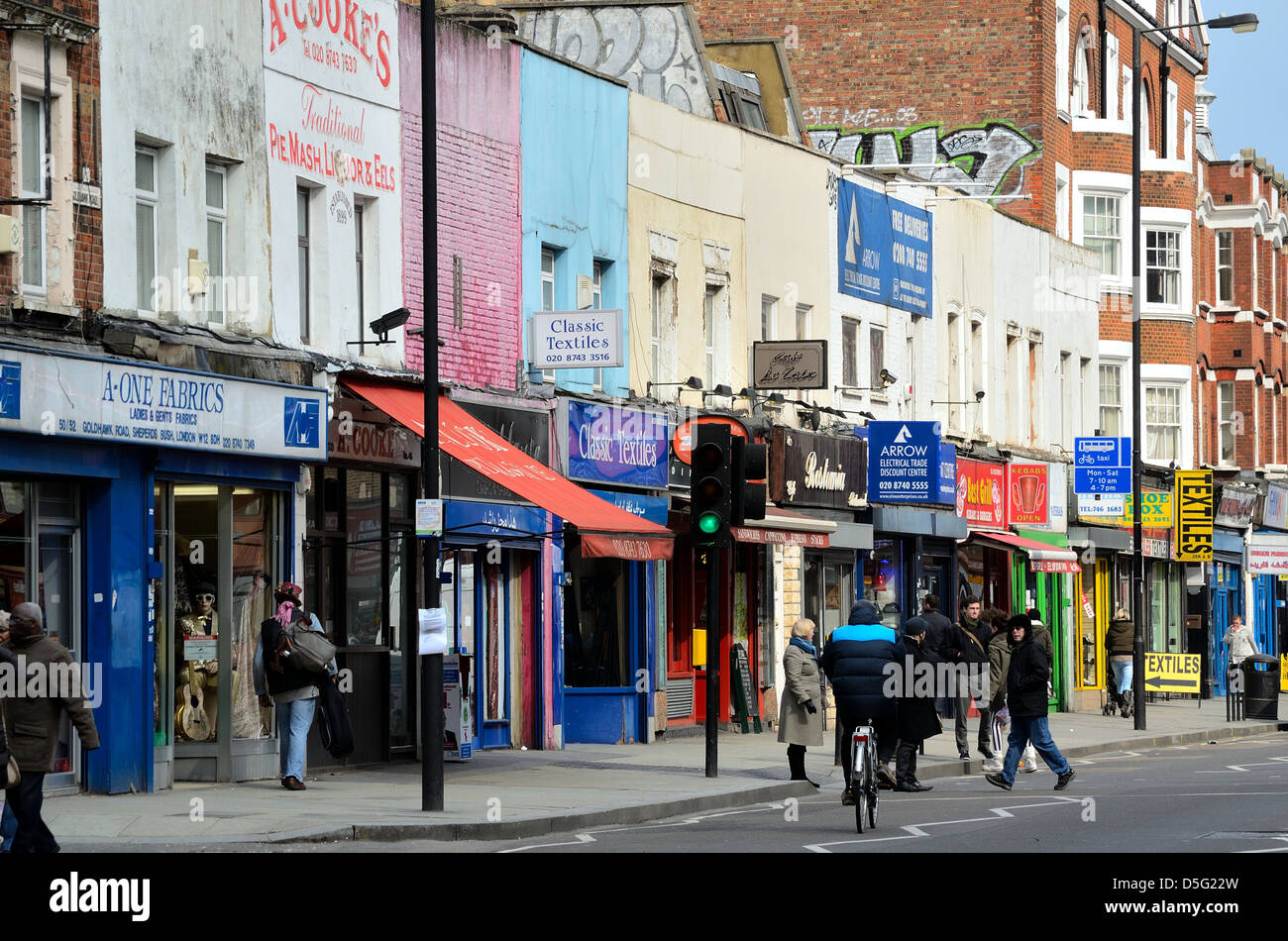 Multicultural shops in the Goldhawk Road Shepherds Bush London - Stock Image