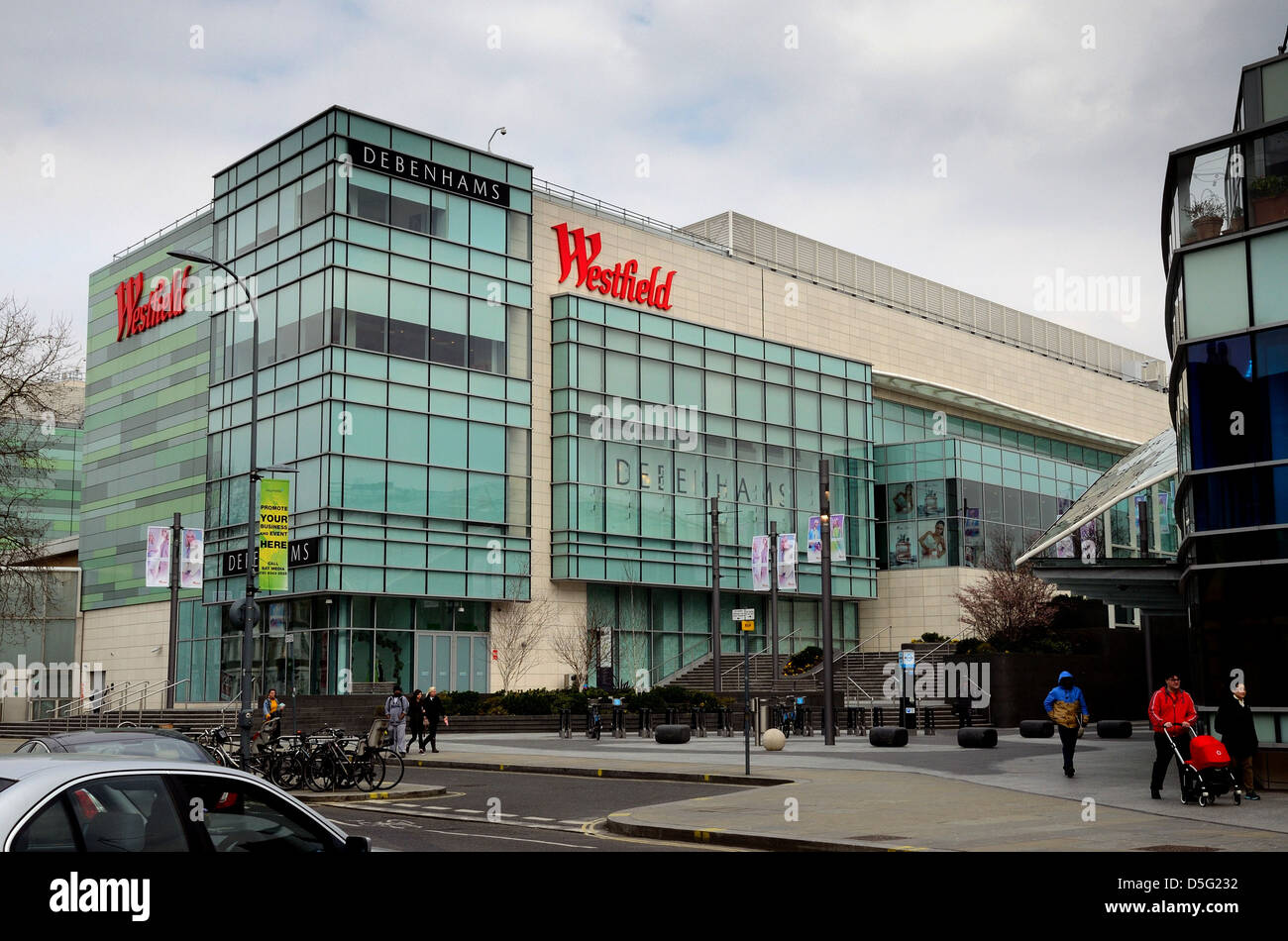 Exterior of The Westfield shopping centre ,Shepherds Bush London - Stock Image