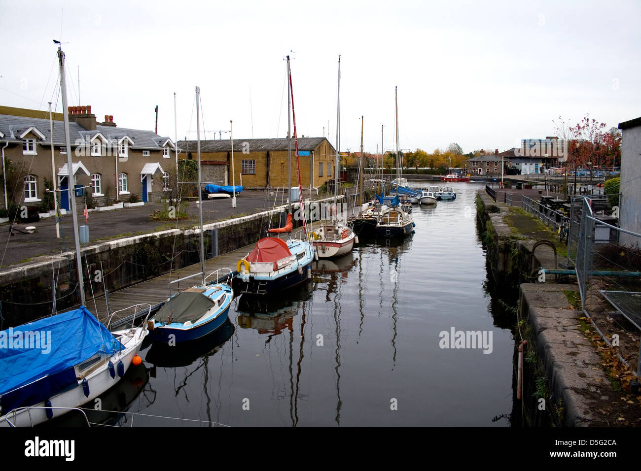 Boats in a harbour in Bristol, England, UK - Stock Image