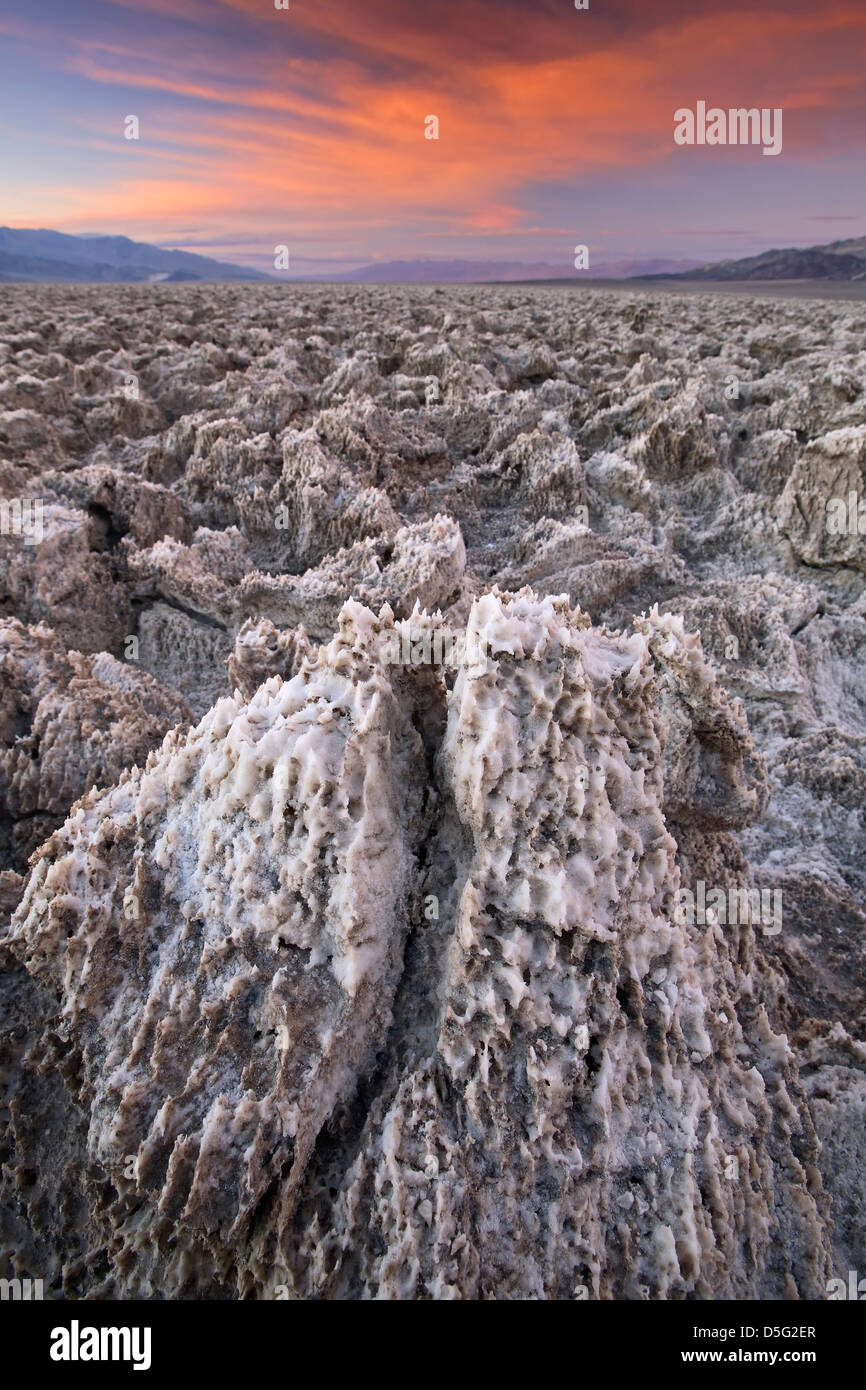 Salt pinnacles on The Devil's Golf Course, Death Valley National Park, California USA Stock Photo