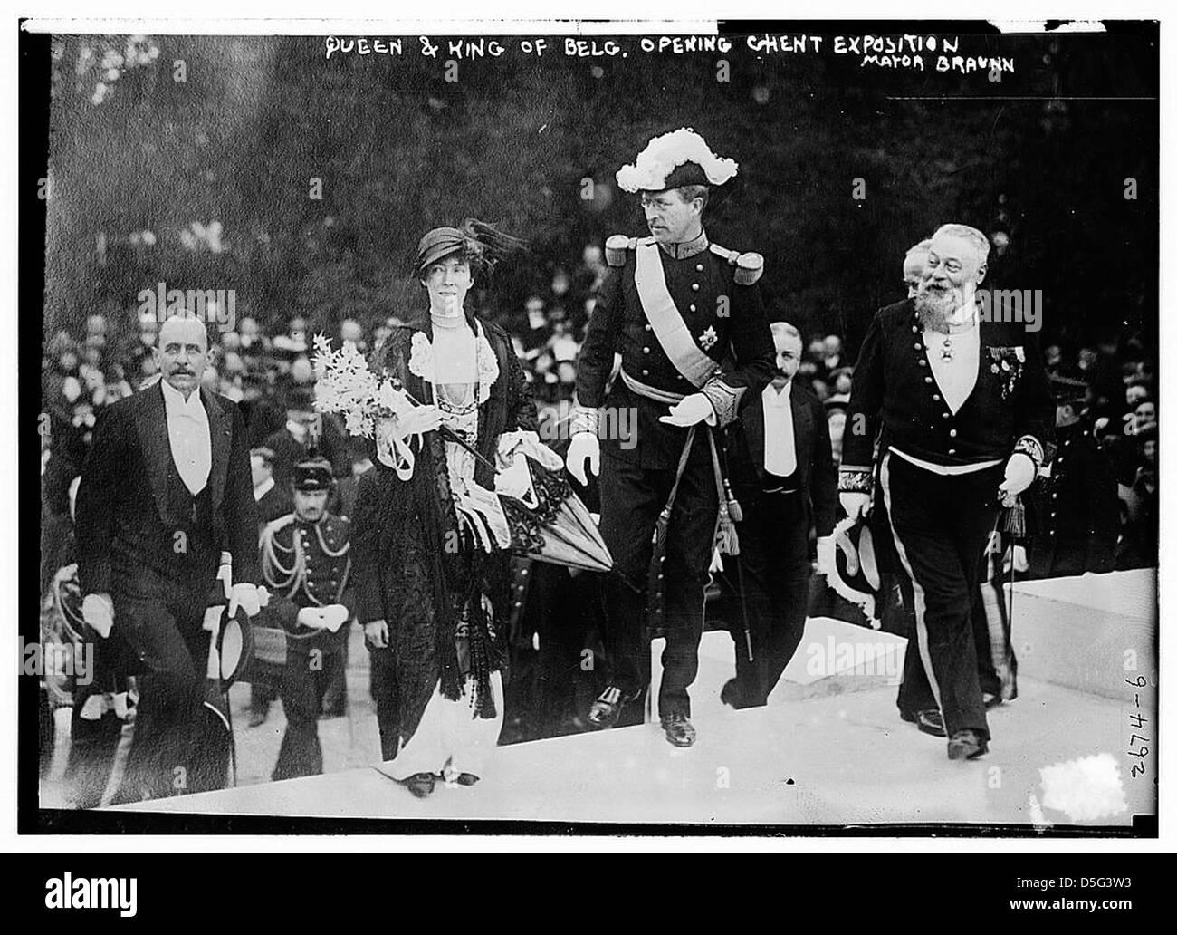 Queen & King of Belg. [i.e., Belgium] opening Ghent Exposition - Mayor Braunn (LOC) Stock Photo