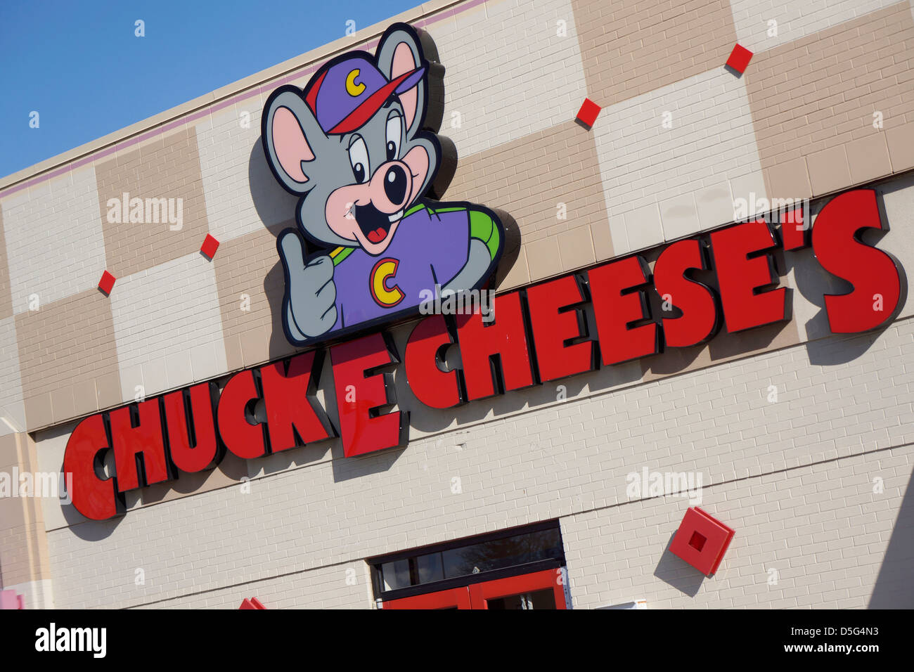 Chuck E Cheese's Restaurant Sign - Stock Image