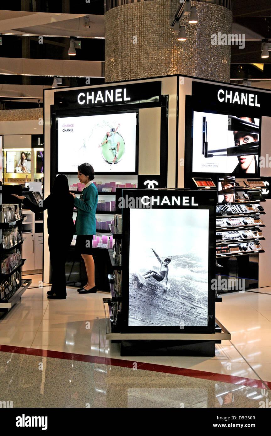 Chanel Perfume and cosmetics Duty Free Shop Dubai international airport UAE - Stock Image