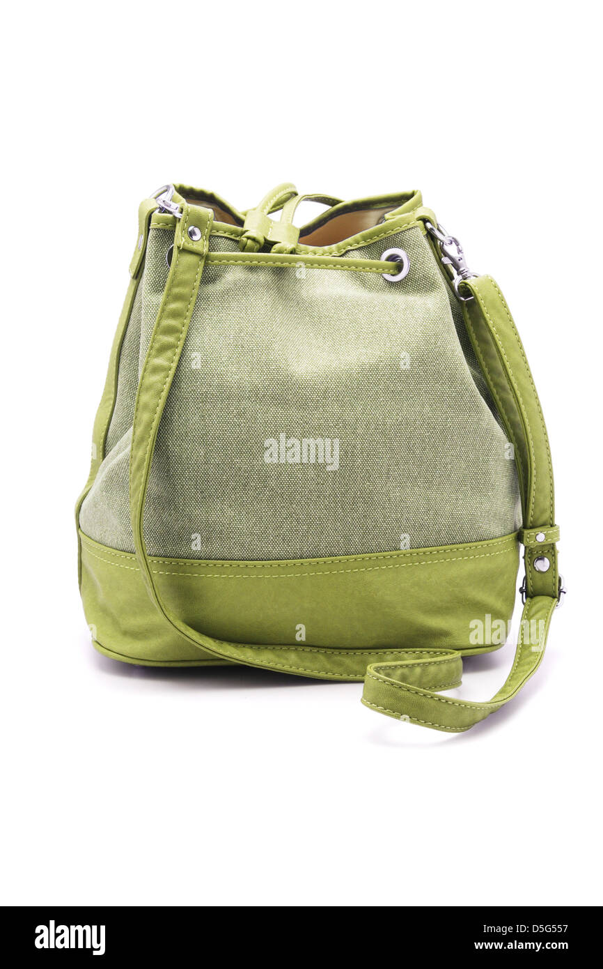 Green Lady Sling Bag on White Background - Stock Image