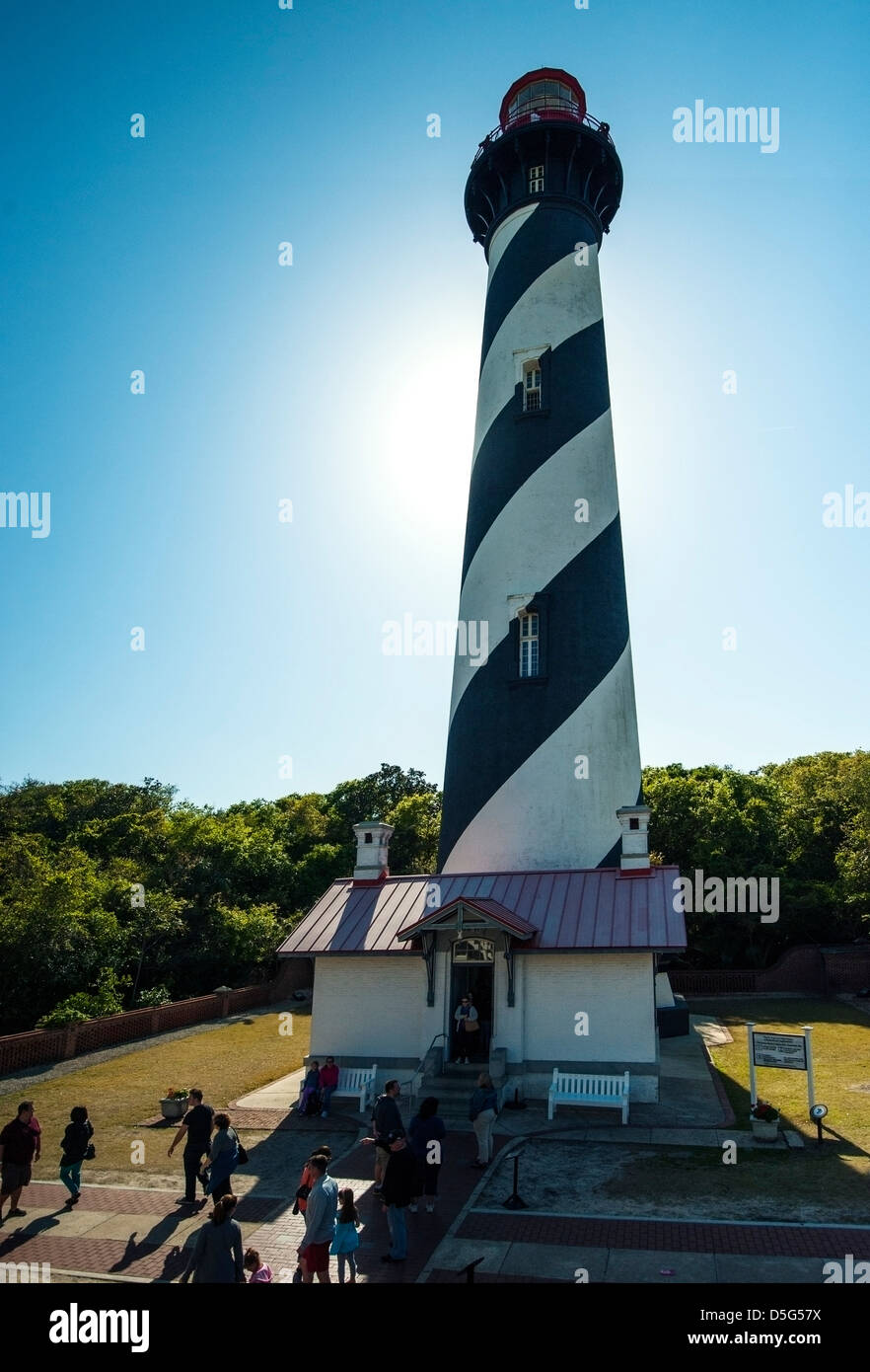 St. Augustine Florida Lighthouse with sun glare - Stock Image