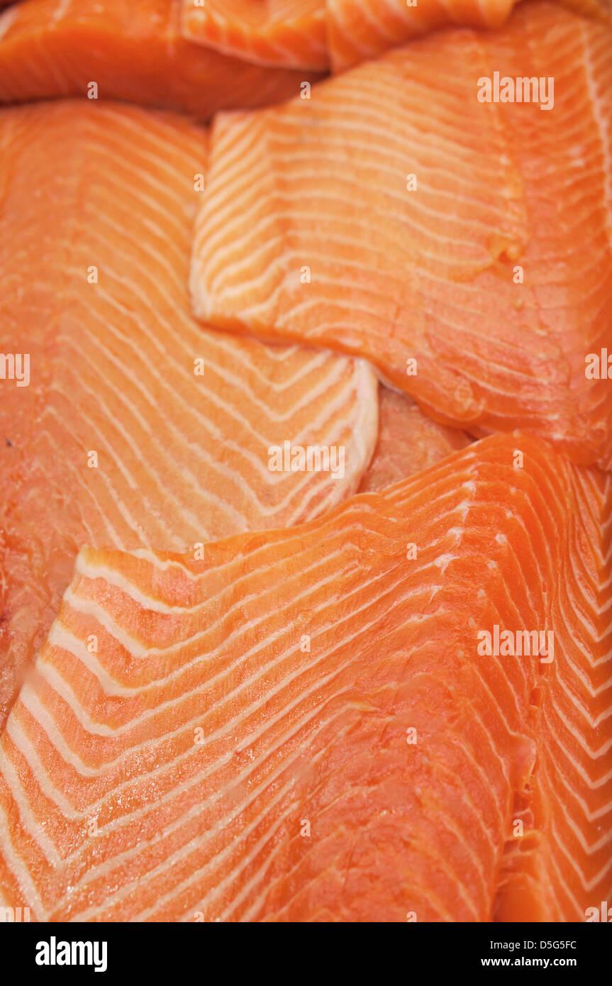 Atlantic Salmon Fillets - Stock Image