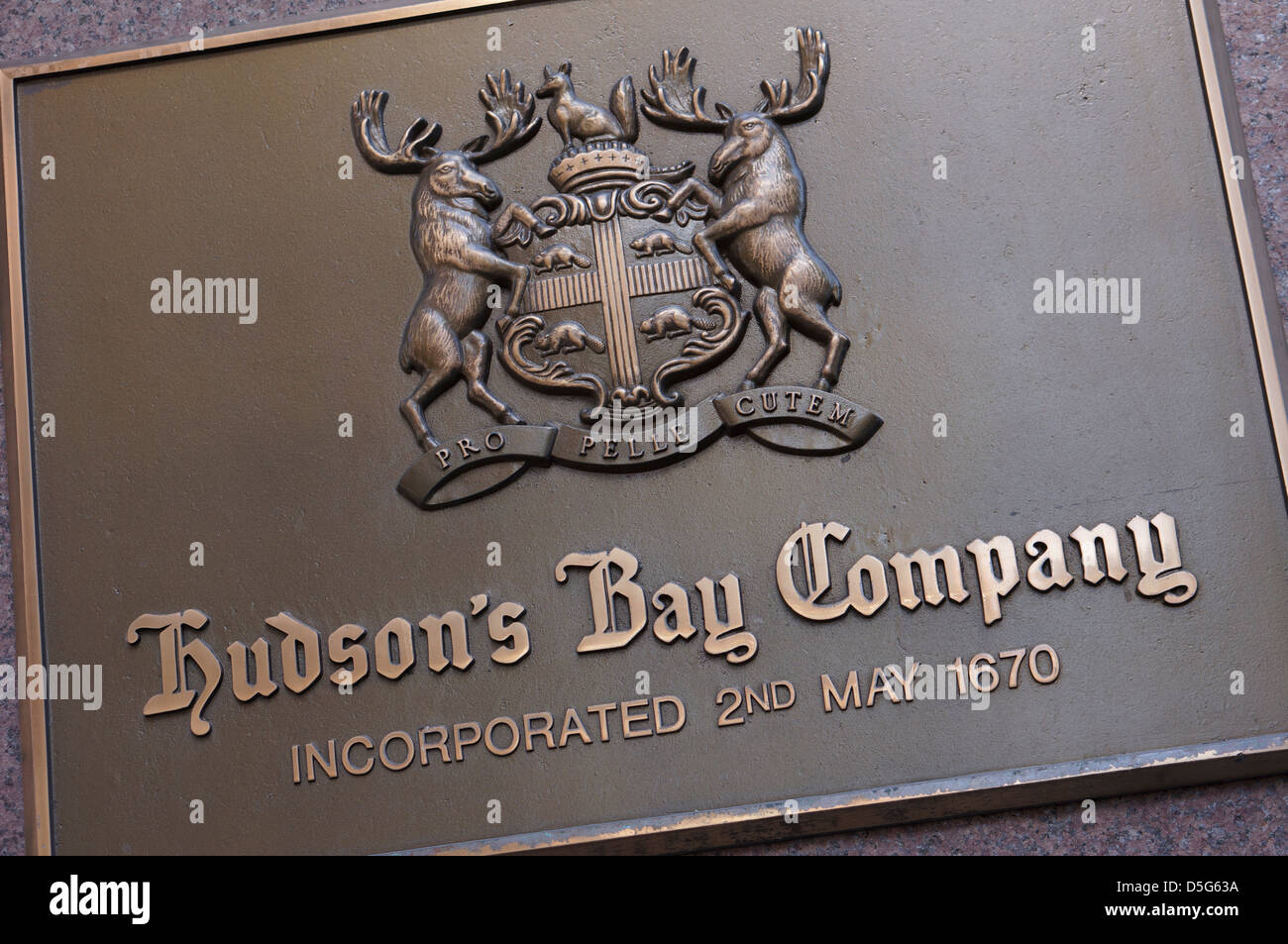 Hudson's Bay Company Plaque outside Store - Stock Image
