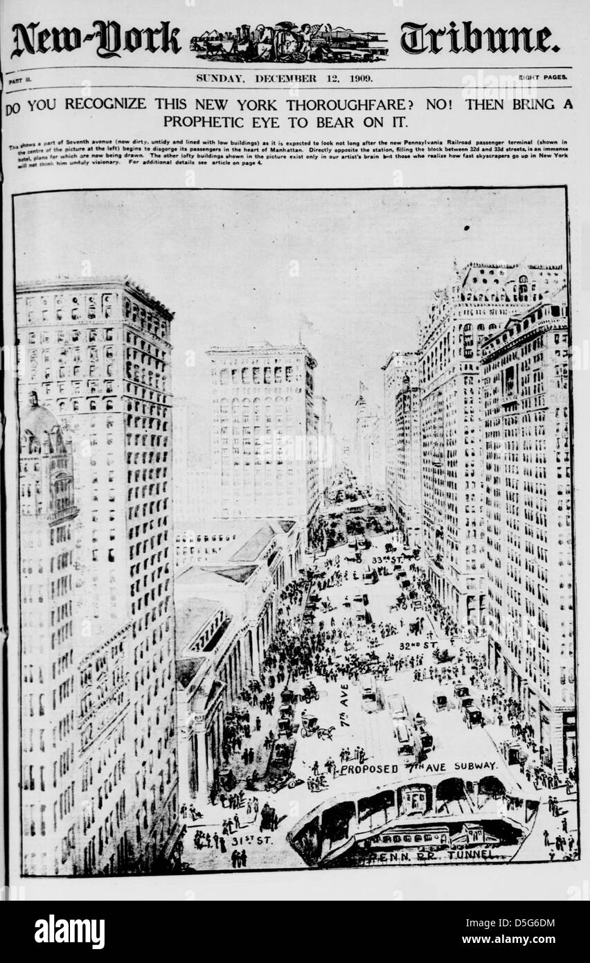Do you recognize this New York thoroughfare? No! Then bring a prophetic eye to bear on it (LOC) - Stock Image