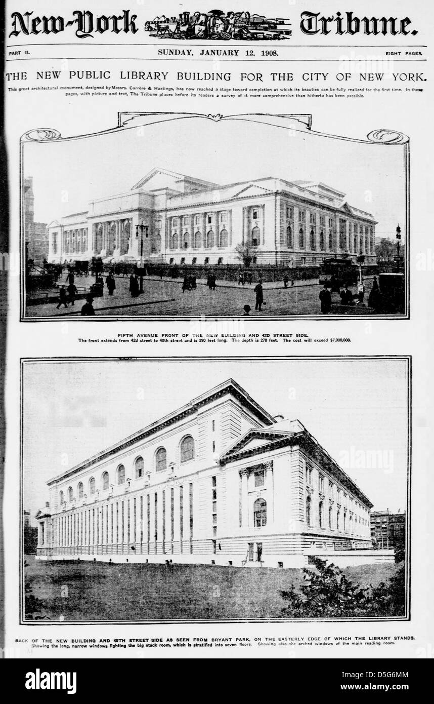 The New Public Library building for the city of New York (LOC) - Stock Image