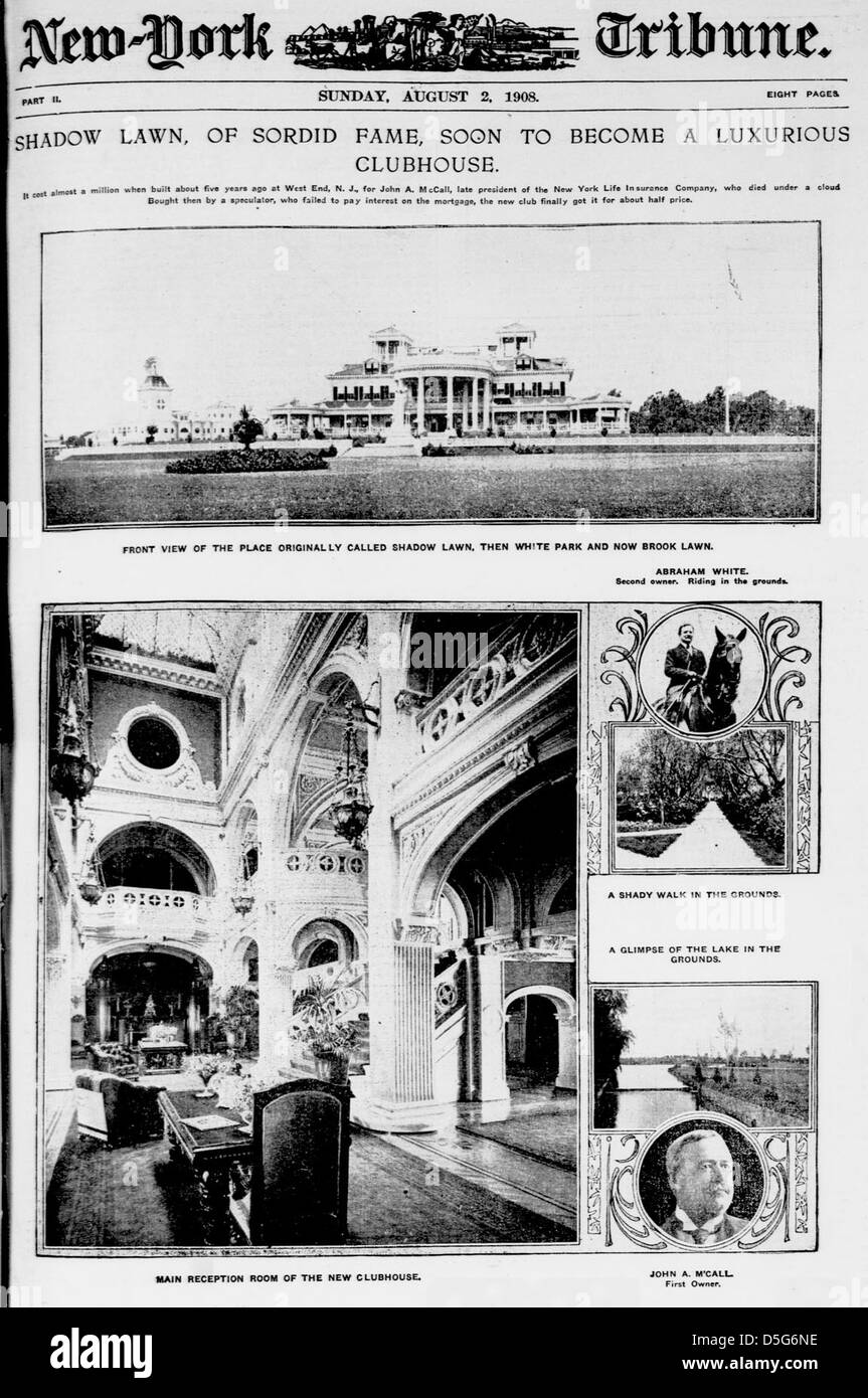 Shadow lawn, of sordid fame, soon to become a luxurious clubhouse (LOC) - Stock Image
