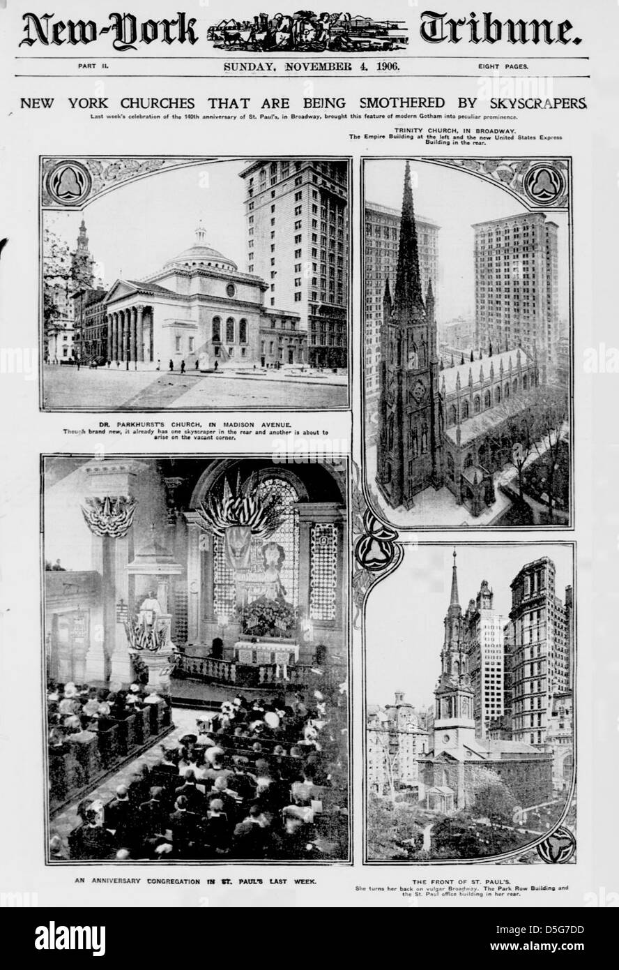 New York churches that are being smothered by skyscrapers (LOC) - Stock Image