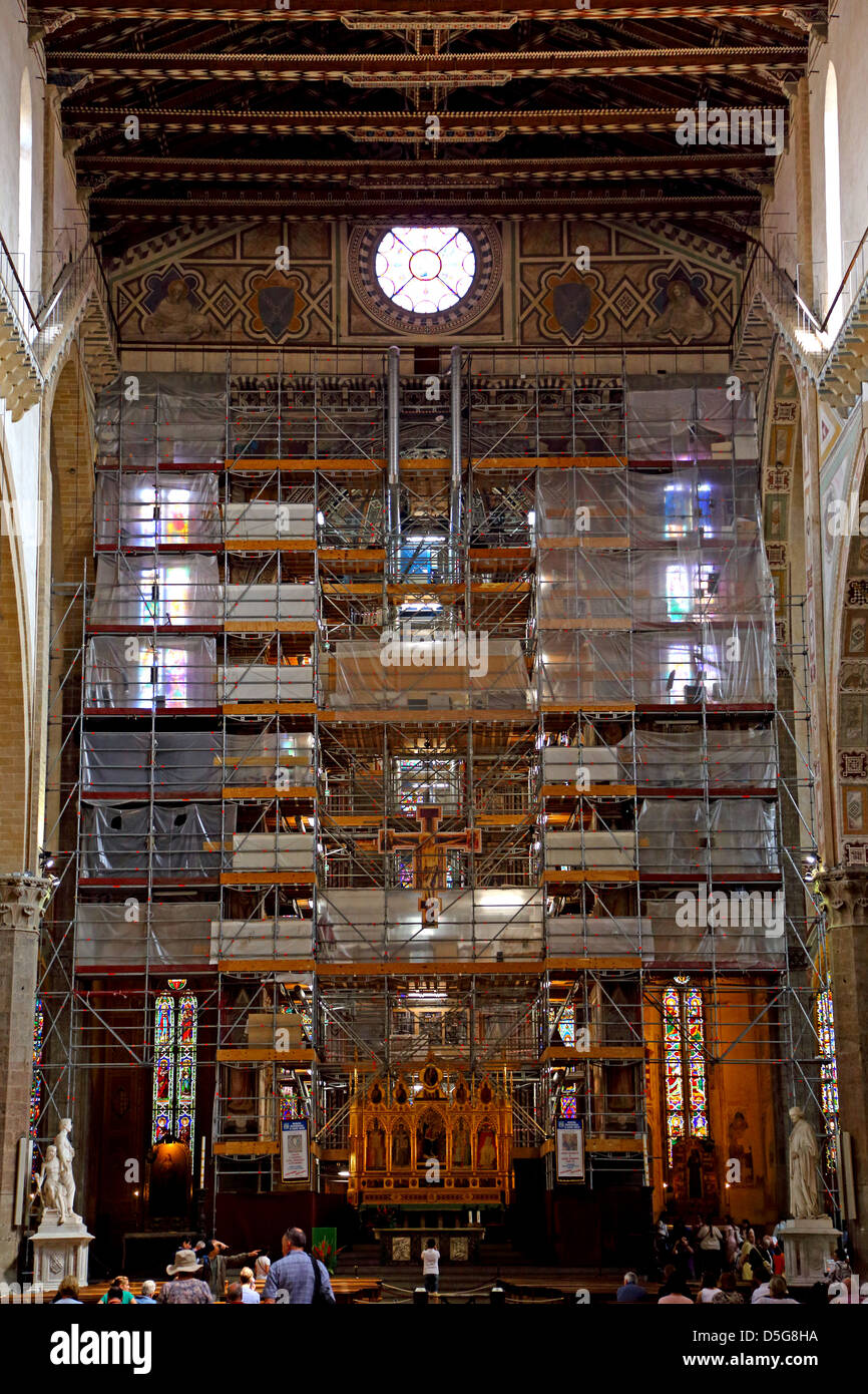 Scaffold covering the altar during restoration to Basilica Santa Croce in Florence Italy - Stock Image