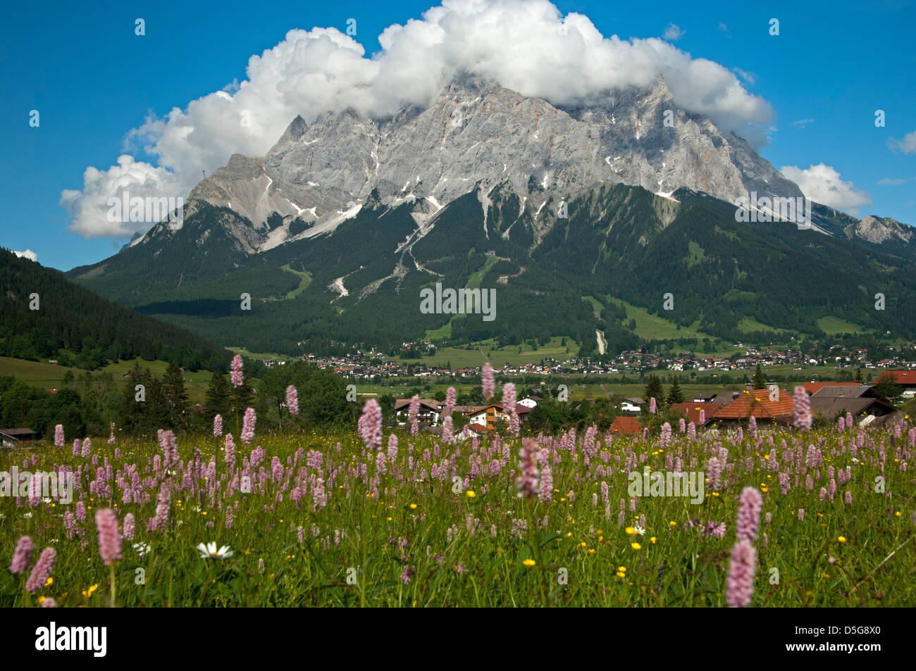 Cumulus clouds hanging above the Wetterstein Mountains, Ehrwald, Tyrol, Austria - Stock Image