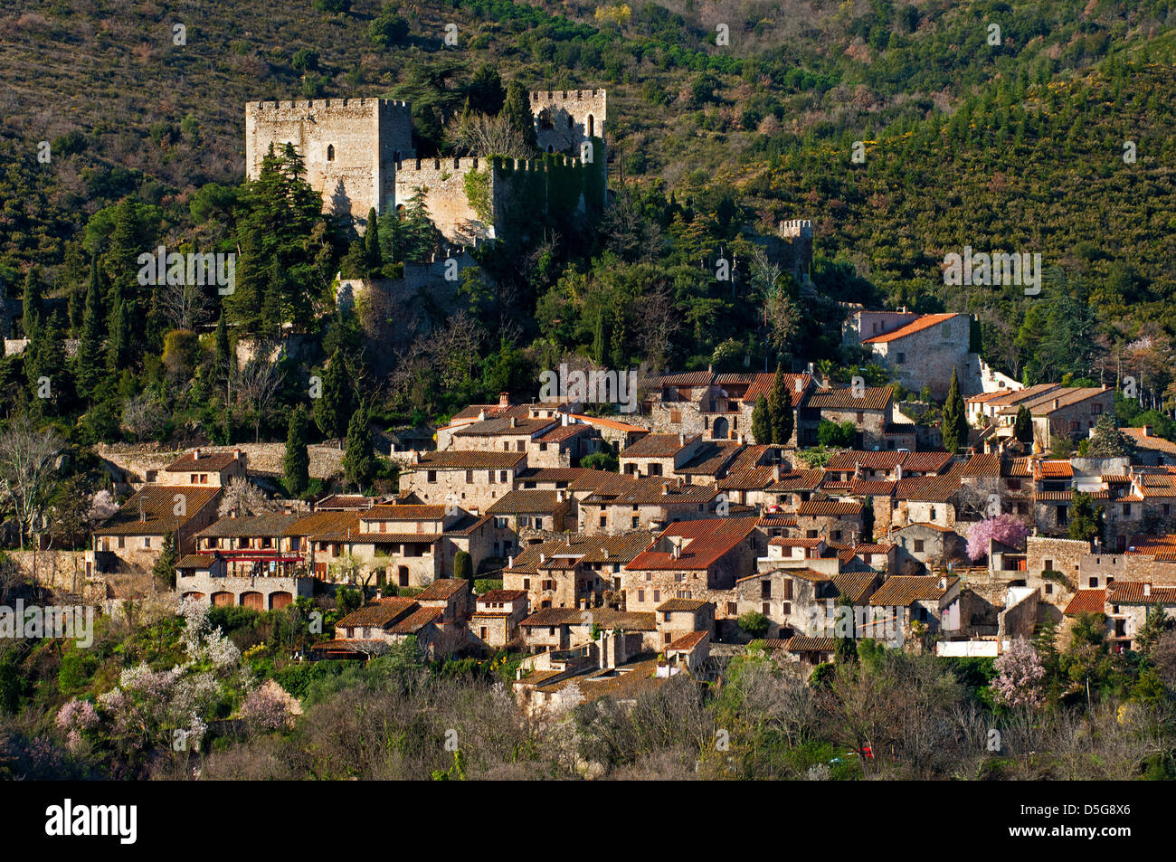 Medieval village Castelnou, Pyrénées-Orientales department, France - Stock Image