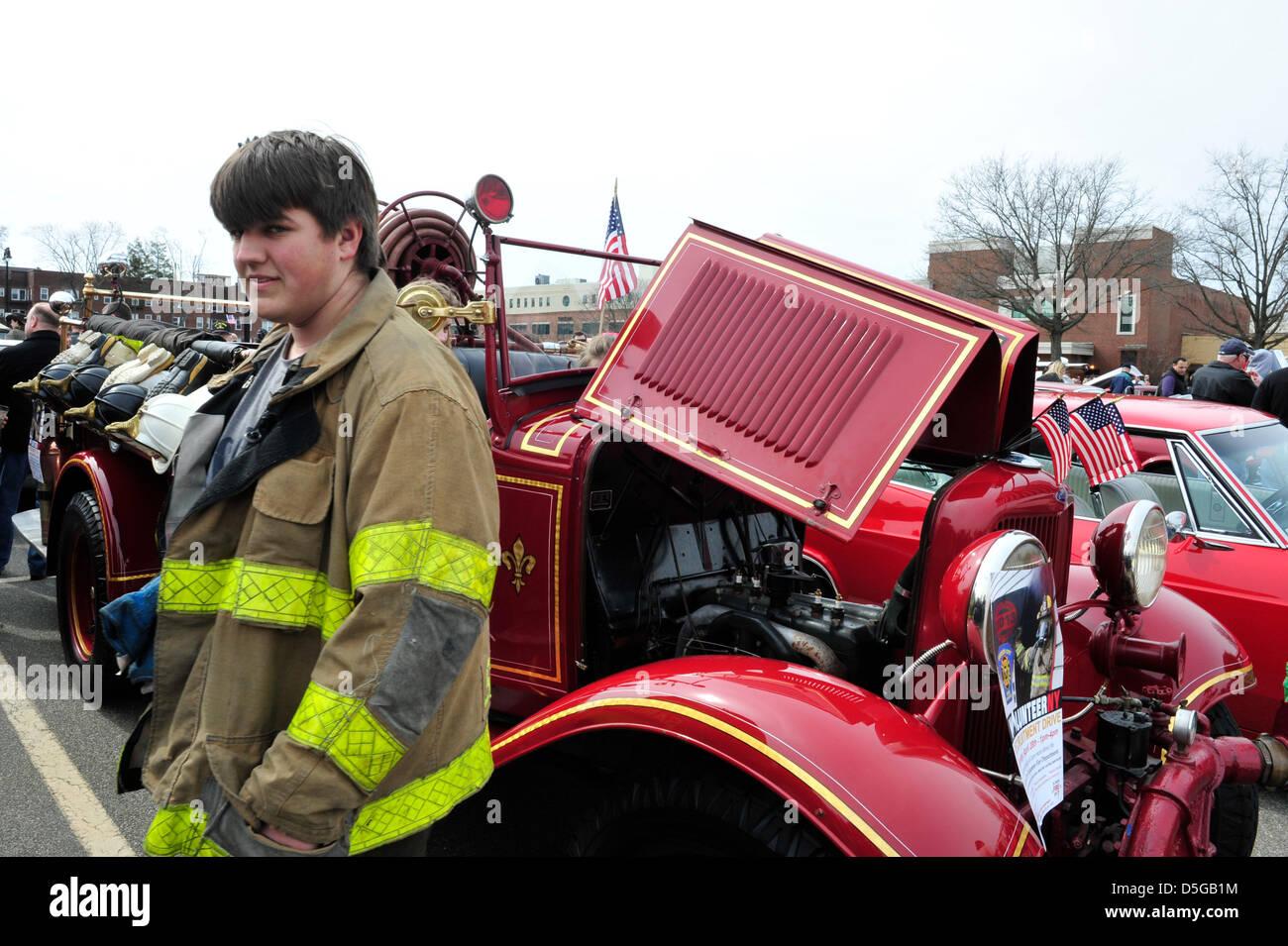 Garden City, New York, U.S. March 31, 2013.  The Garden City Volunteer Exempt Firemans Association brought its 1932 - Stock Image
