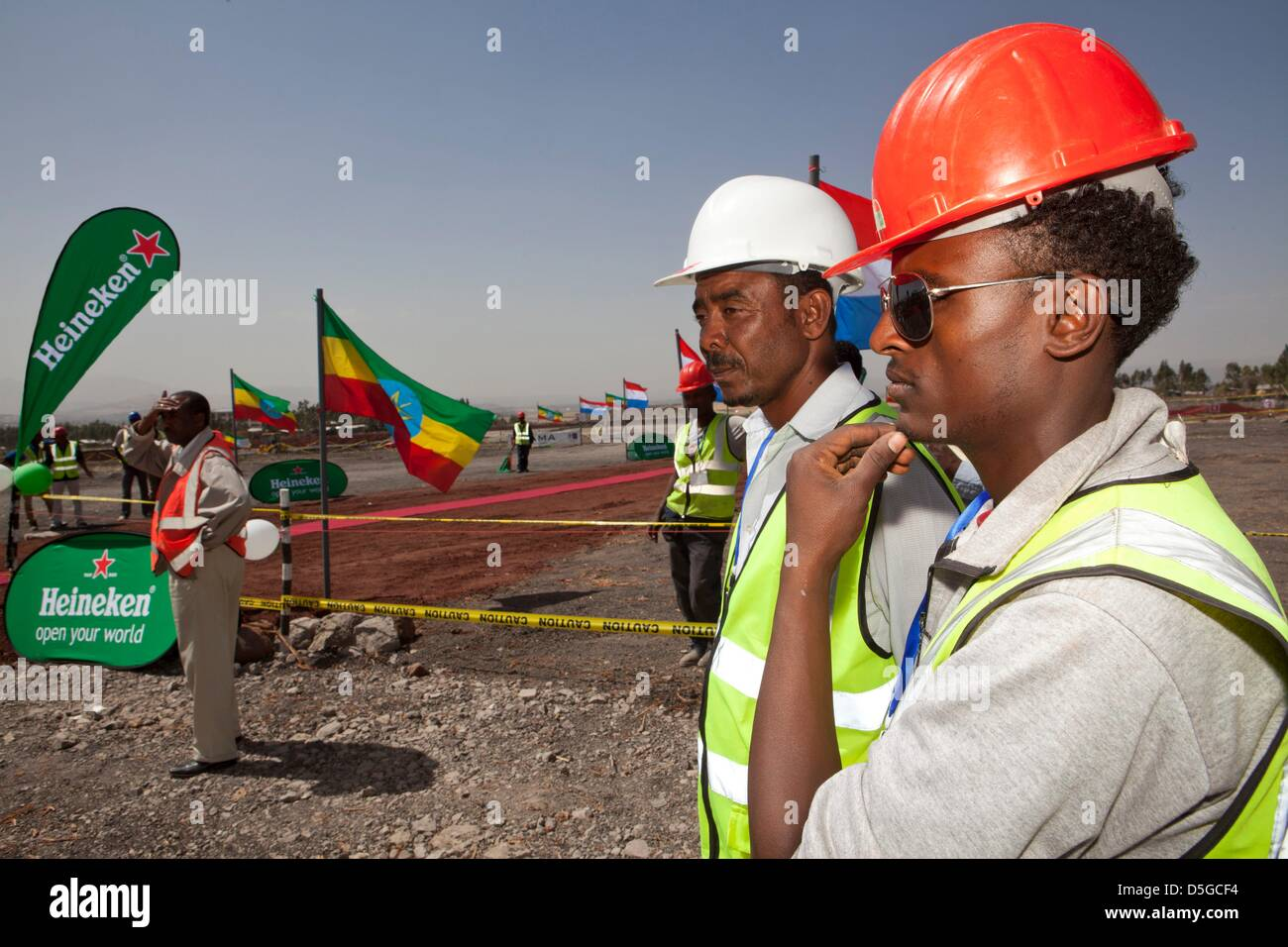 Dutch minister lilanne ploumen (development aid) visits construction site of new heinkene brewery outside  Addid - Stock Image