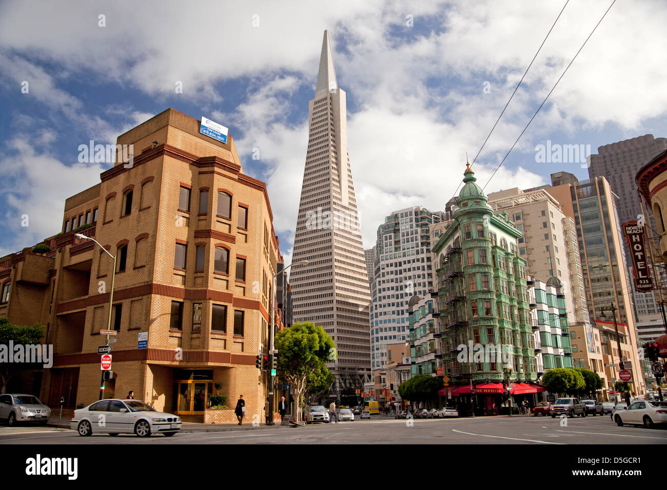 Transamerica Pyramid, historic Sentinel Building with Cafe Zoetrope and Columbus Avenue in San Francisco, California, - Stock Image