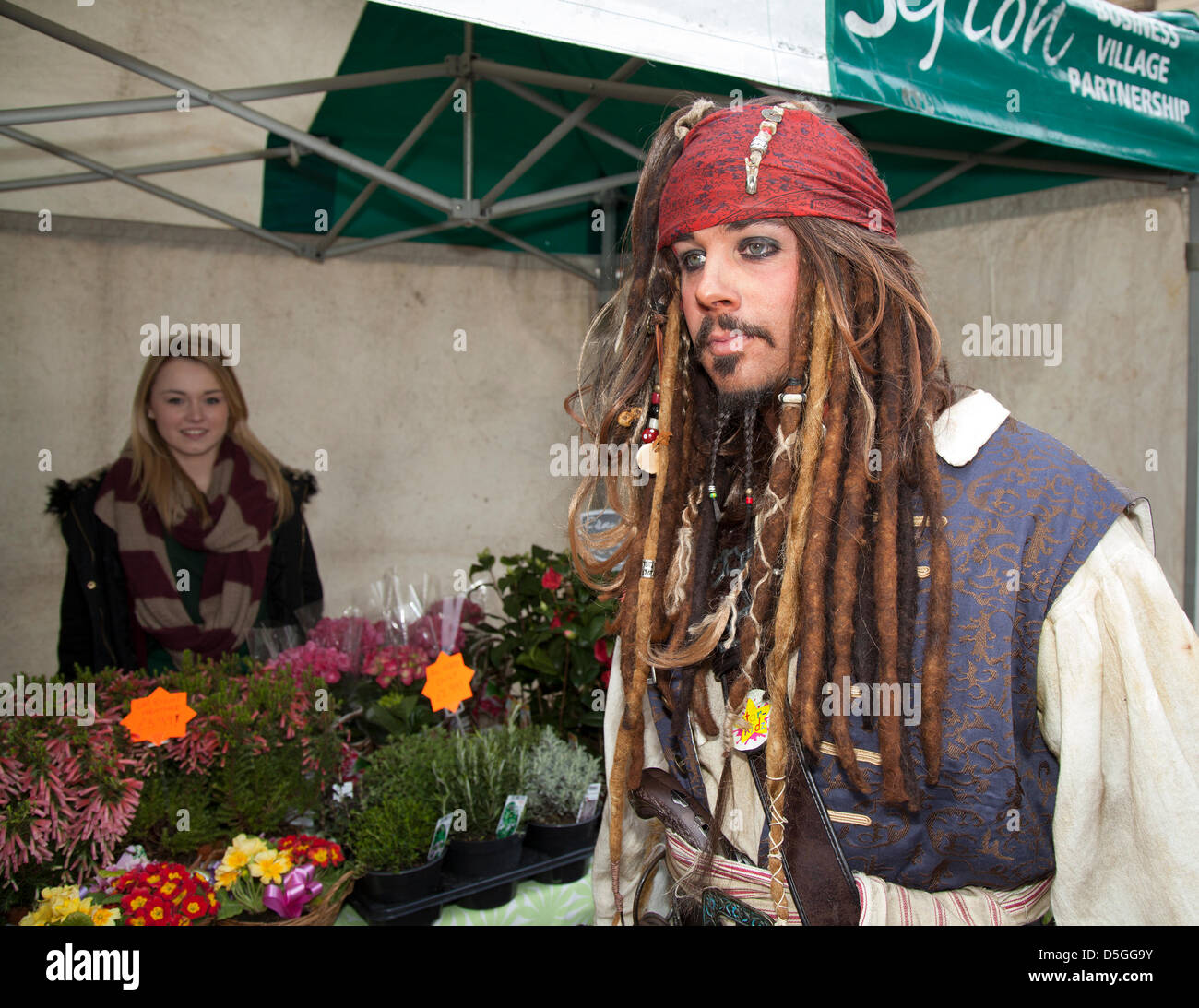 Southport, Merseyside, UK. 2nd April, 2013.  John Brook, 32 from Southport at the new outdoor market, an alfresco - Stock Image