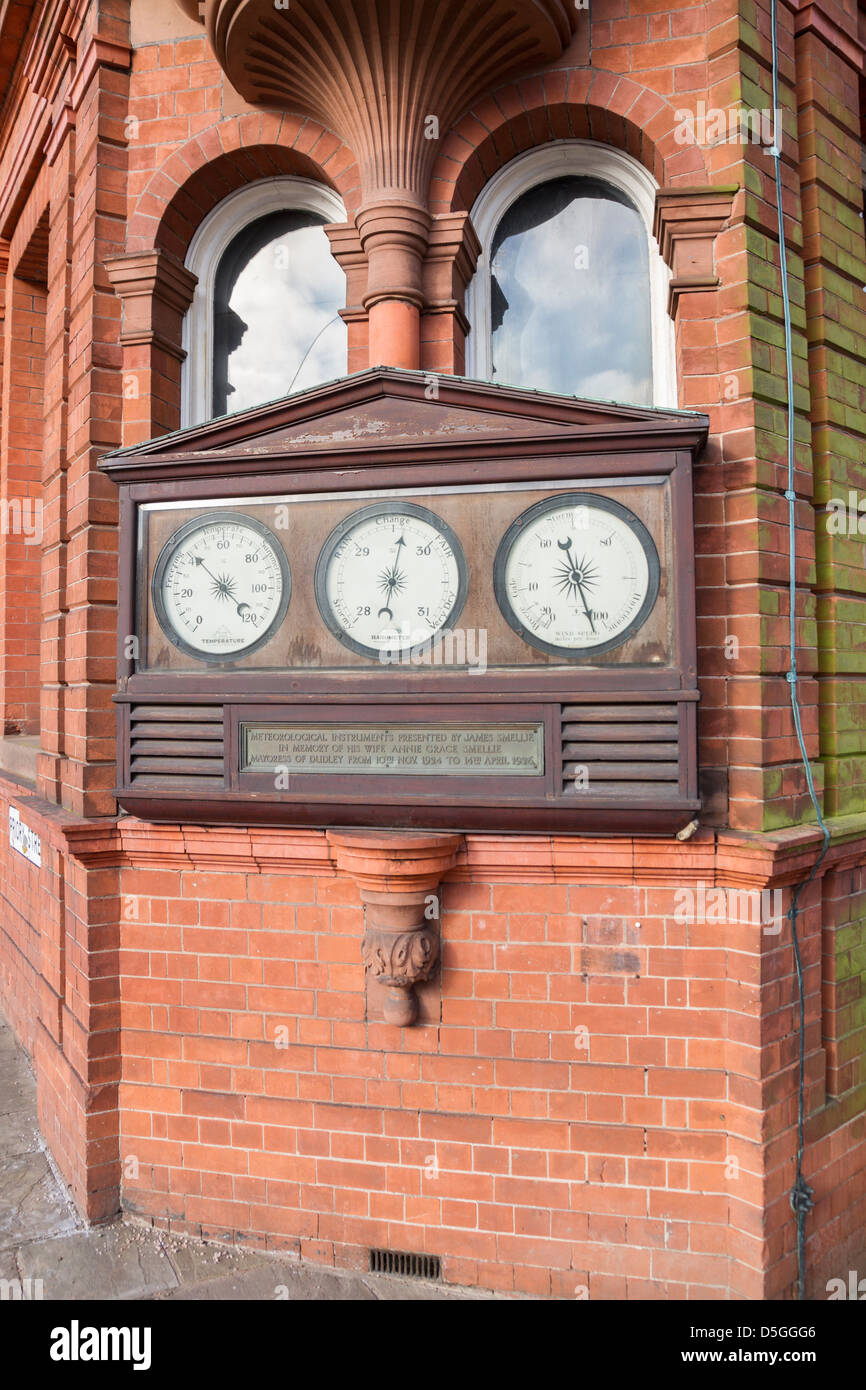 Meteorological instruments on a building wall in Dudley West Midlands - Stock Image