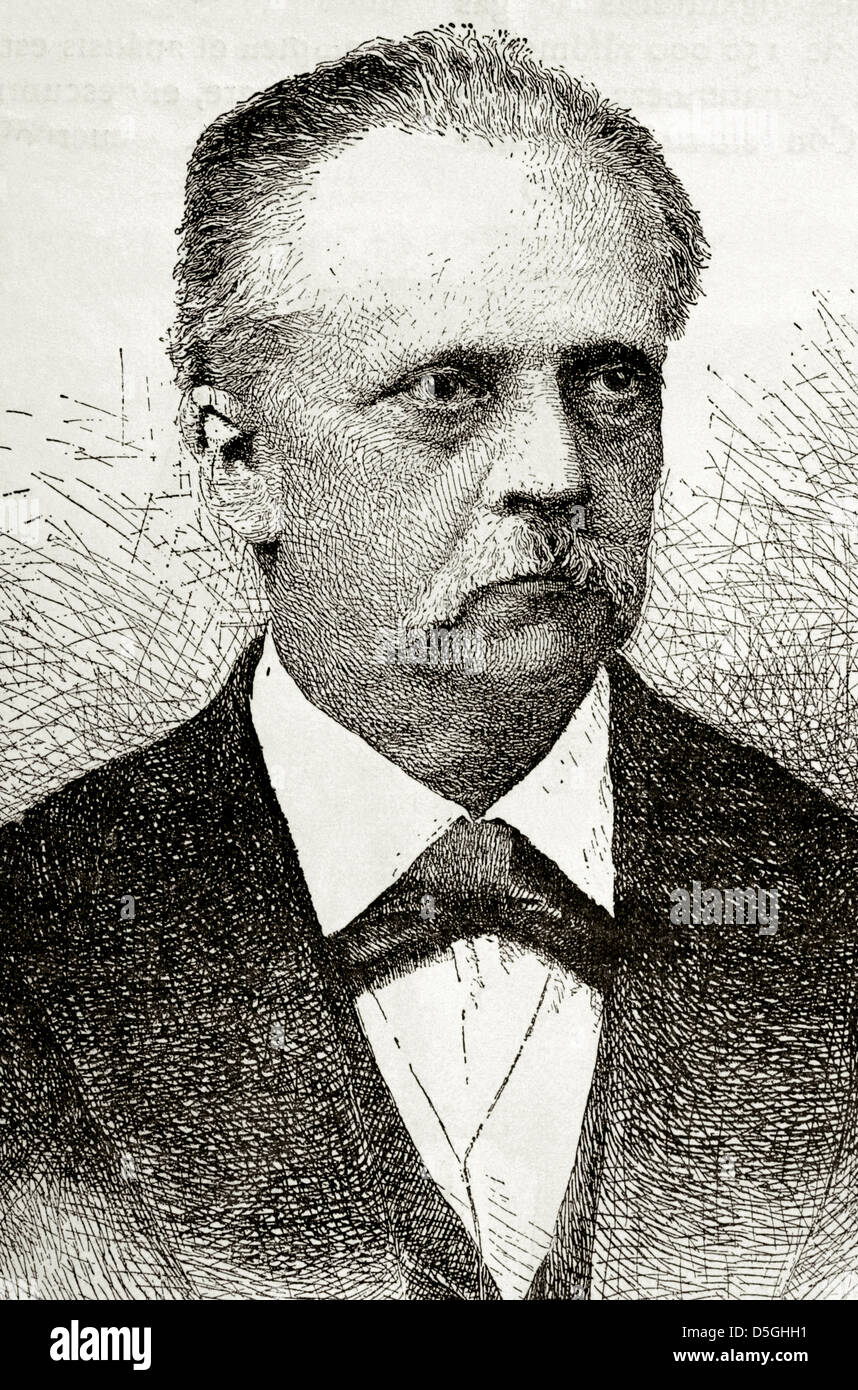 Hermann von Helmholtz (1821-1894). German physician and physicist. Engraving in Our Century, 1883. - Stock Image