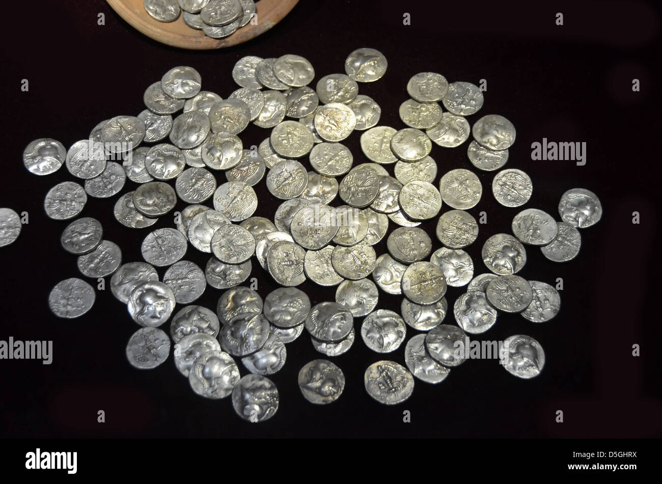 Treasure of ancient greek silver coins - Stock Image