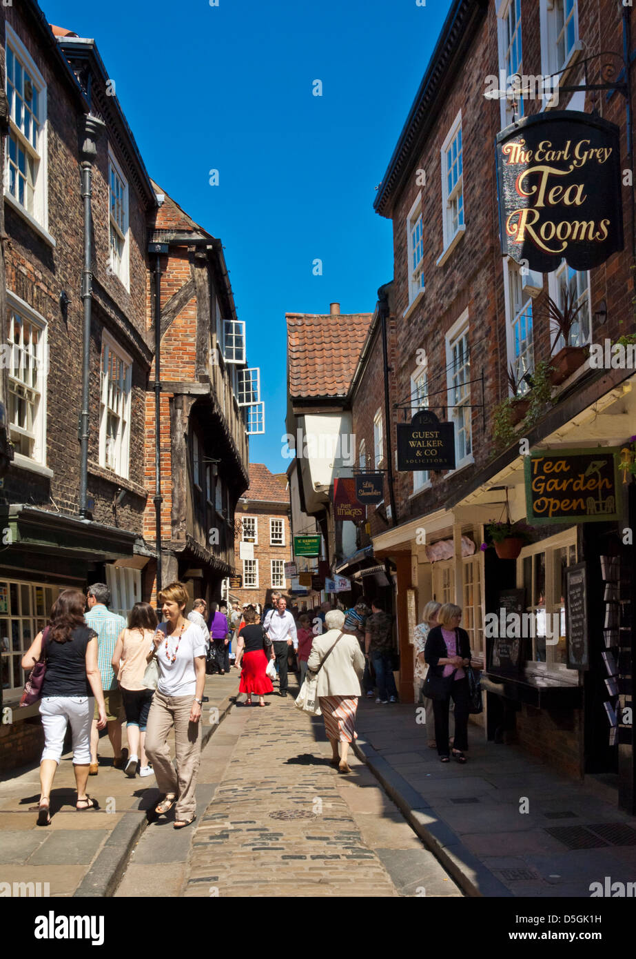 The Shambles, the narrow street of half-timbered old medieval buildings, York, England, UK, GB, EU, Europe - Stock Image
