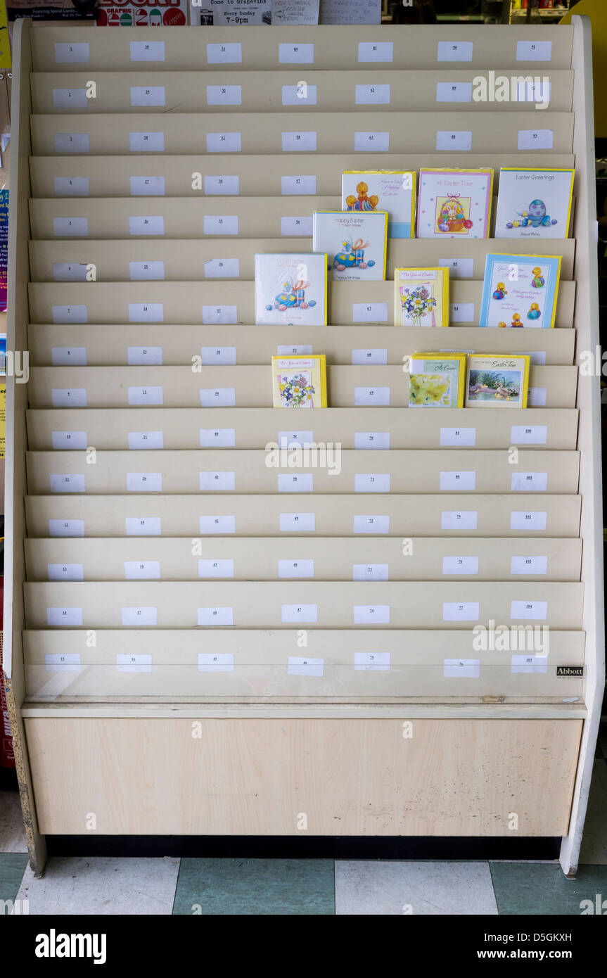 a1ea703ca20 An almost empty card rack following the Easter Holidays - Stock Image