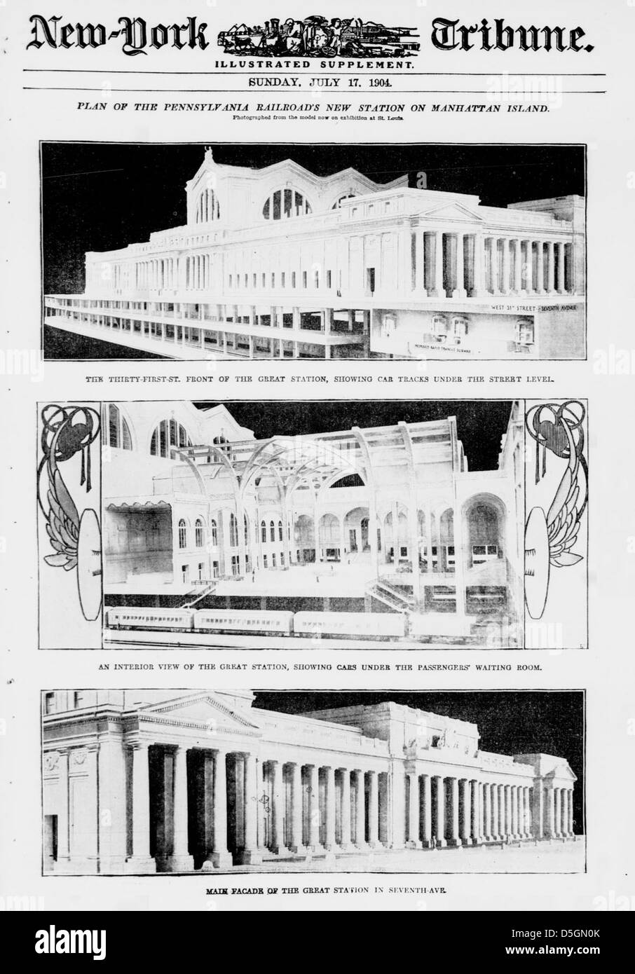 Plan of the Pennsylvania Railroad's new station on Manhattan Island (LOC) - Stock Image