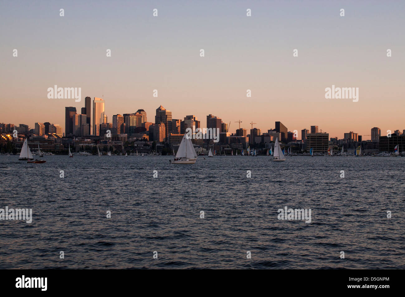 Seattle's Lake Union with the downtown in the background. - Stock Image