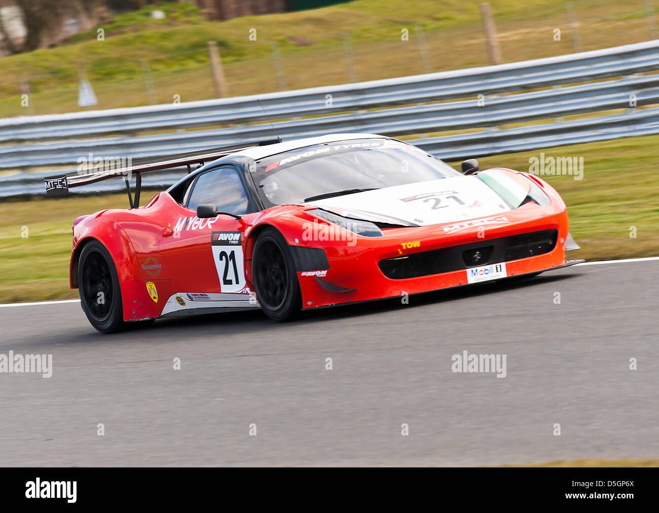 Ferrari 458 Italia Gt3 Sports Car In British Gt Championship At Stock Photo Alamy