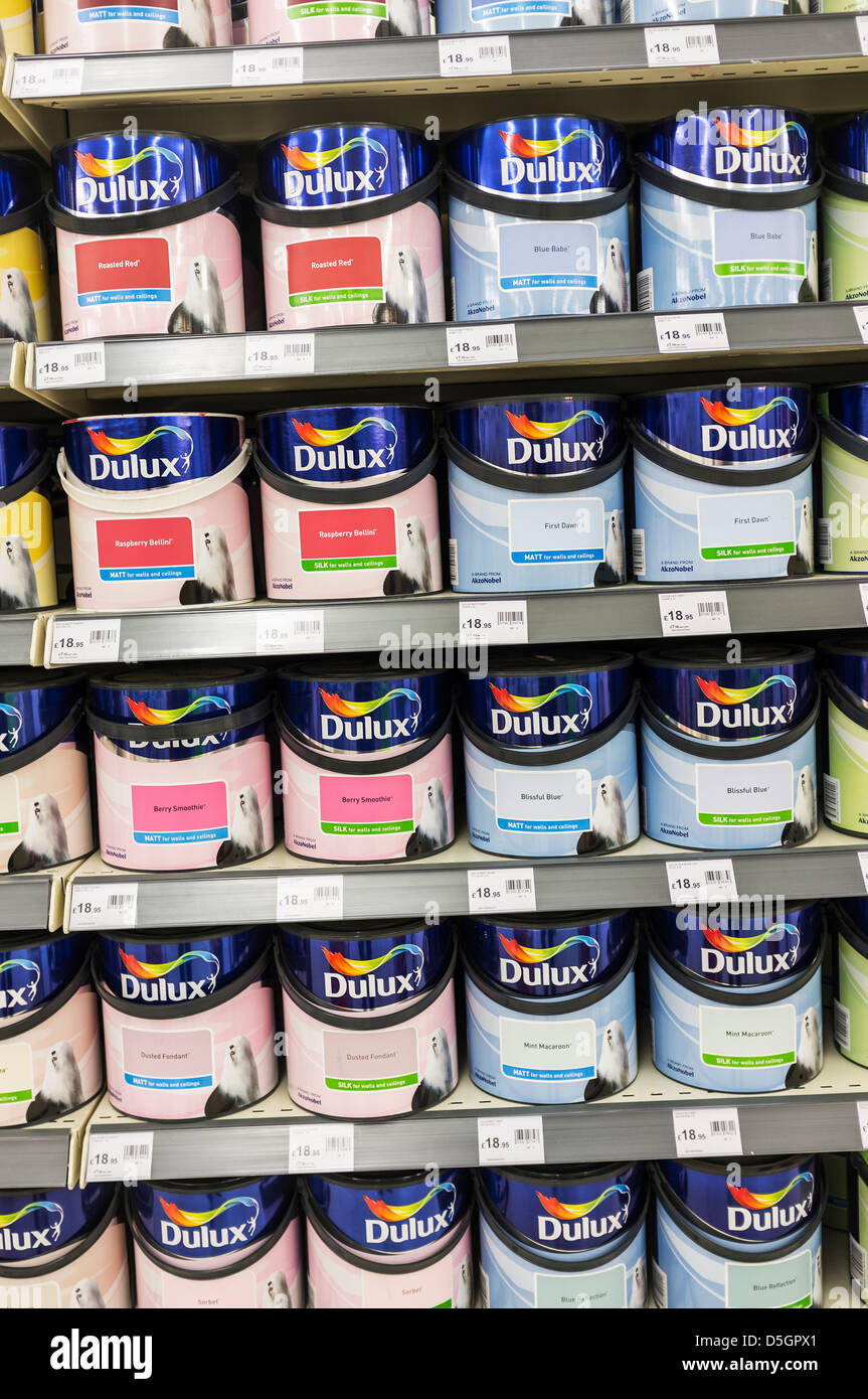 Shelves full of tins of Dulux paint. - Stock Image