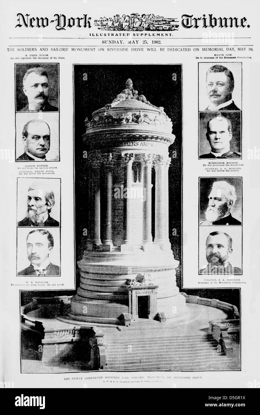 The Soldiers and Sailors' Monument on Riverside Drive will be dedicated on Memorial Day, May 30 (LOC) - Stock Image