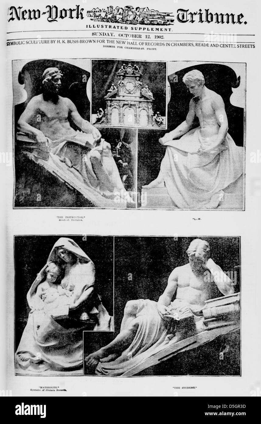 Symbolic sculpture by H. K. Bush-Brown for the new Hall of Records in Chambers, Reade and Centre Streets (LOC) - Stock Image