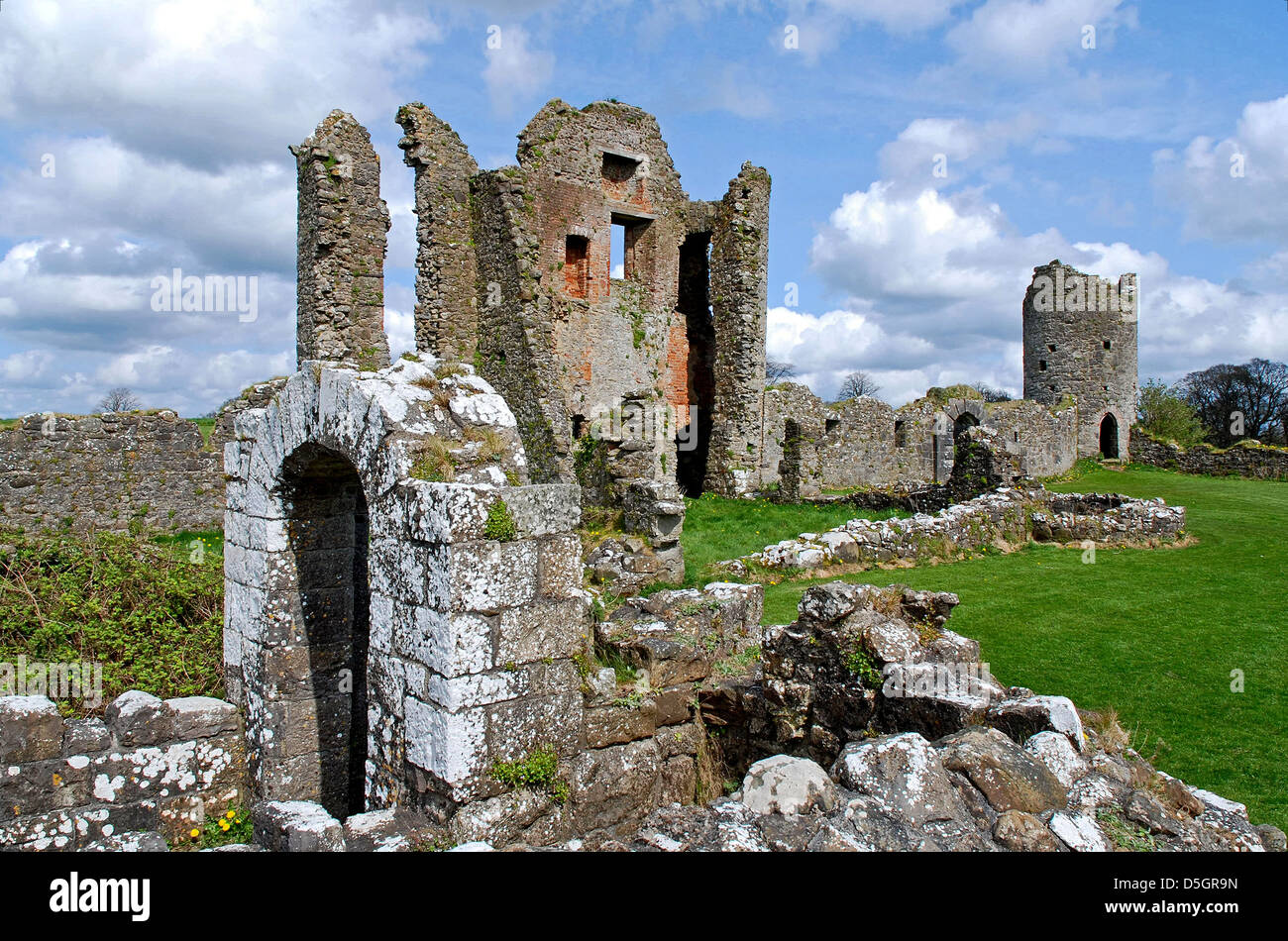 Ruins of 17thC, Century, Crom Castle, Upper Lough Erne, County Fermanagh, Northern Ireland - Stock Image