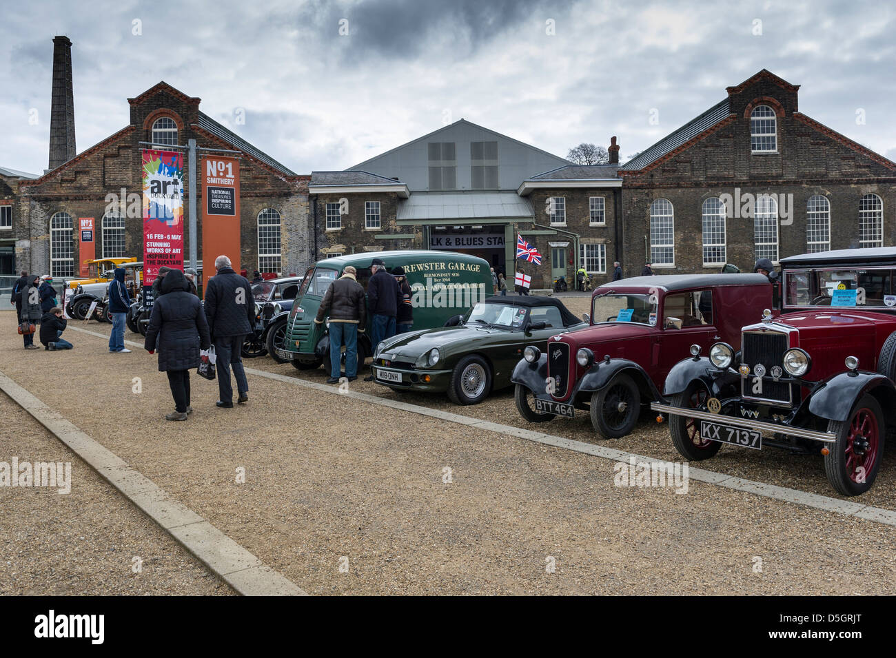 A display of vintage vehicles. - Stock Image