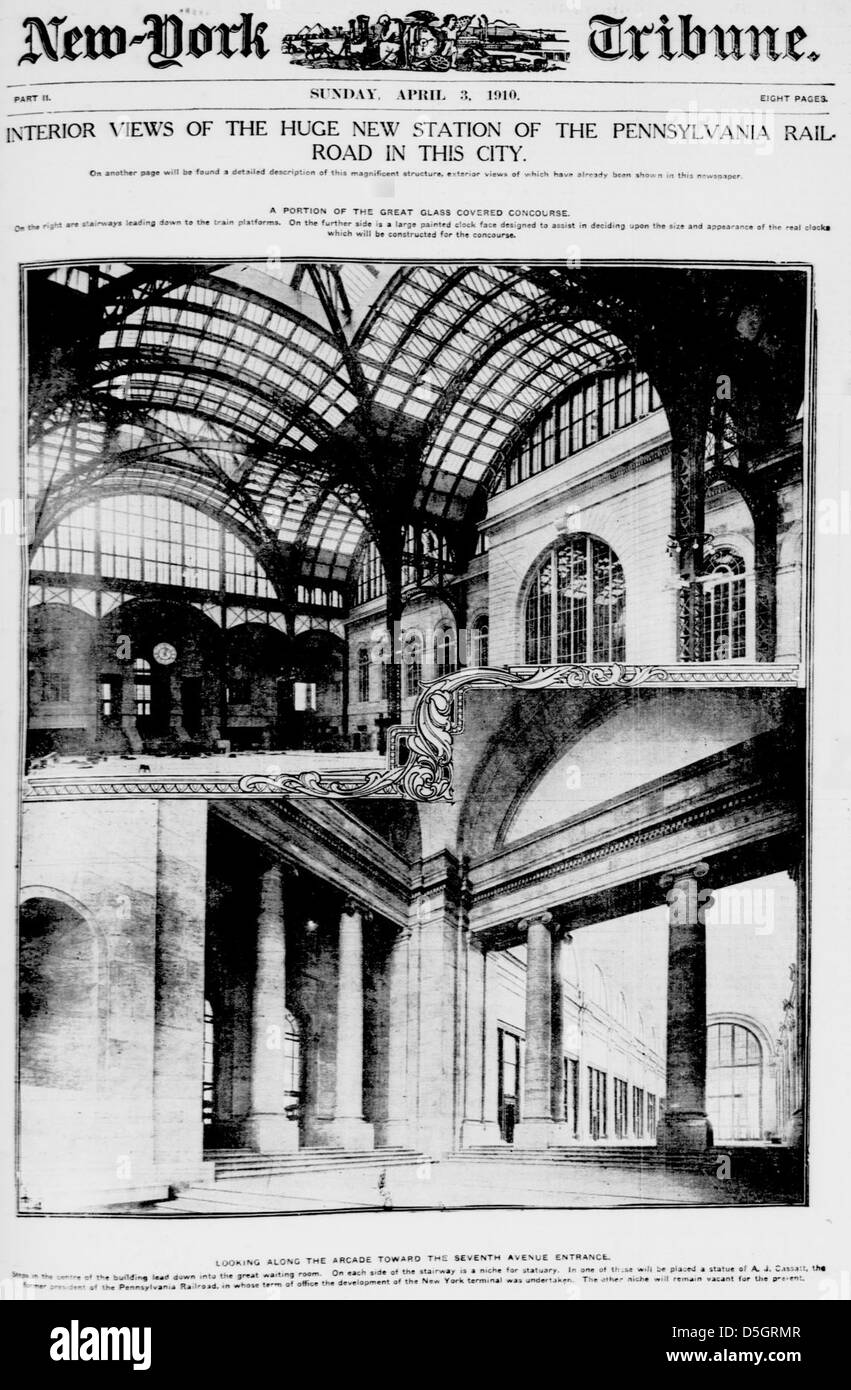 Interior views of the huge new station of the Pennsylvania railroad in this city (LOC) - Stock Image