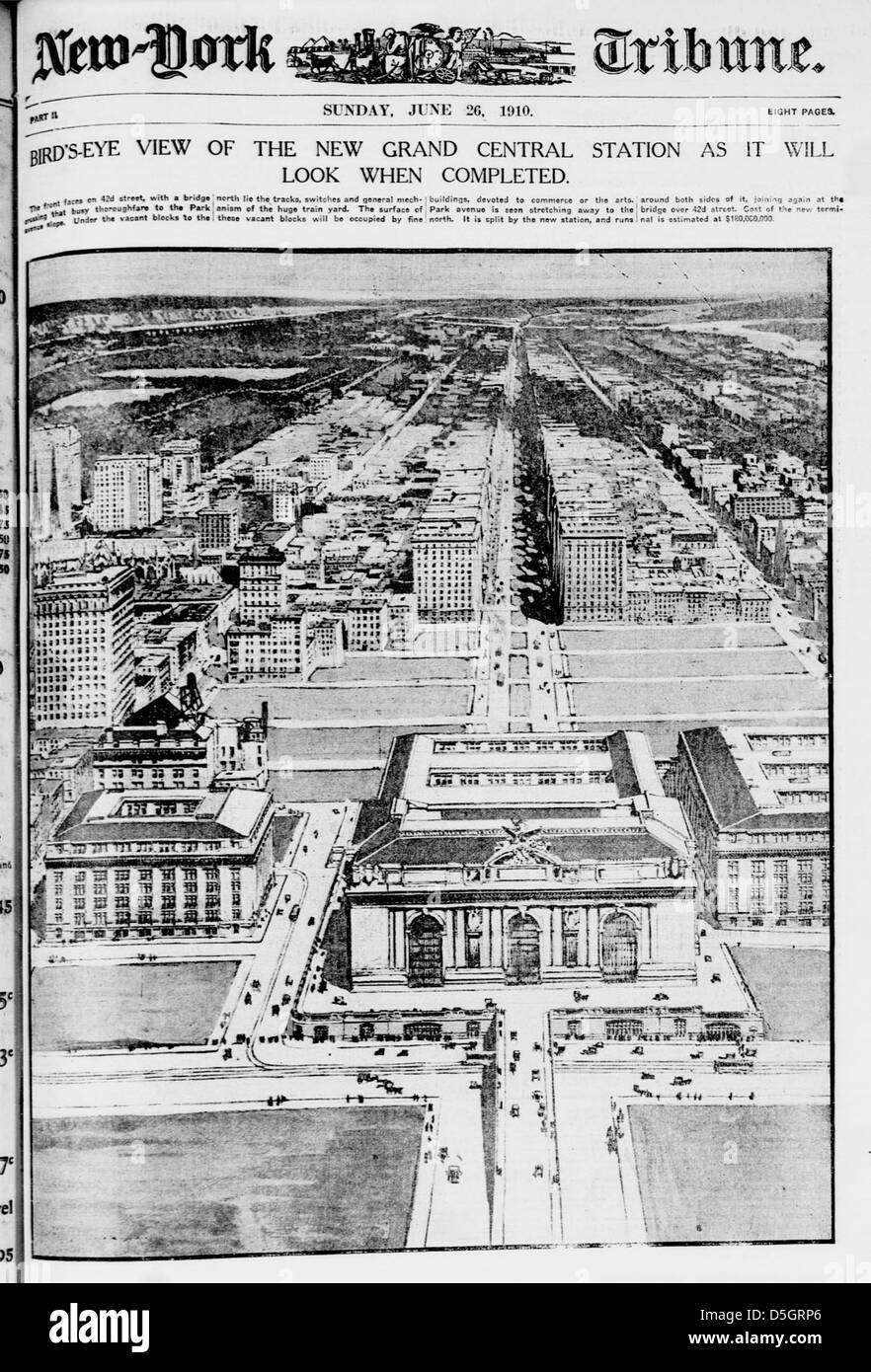 Bird's-eye view of the new Grand Central Station as it will look when completed (LOC) - Stock Image