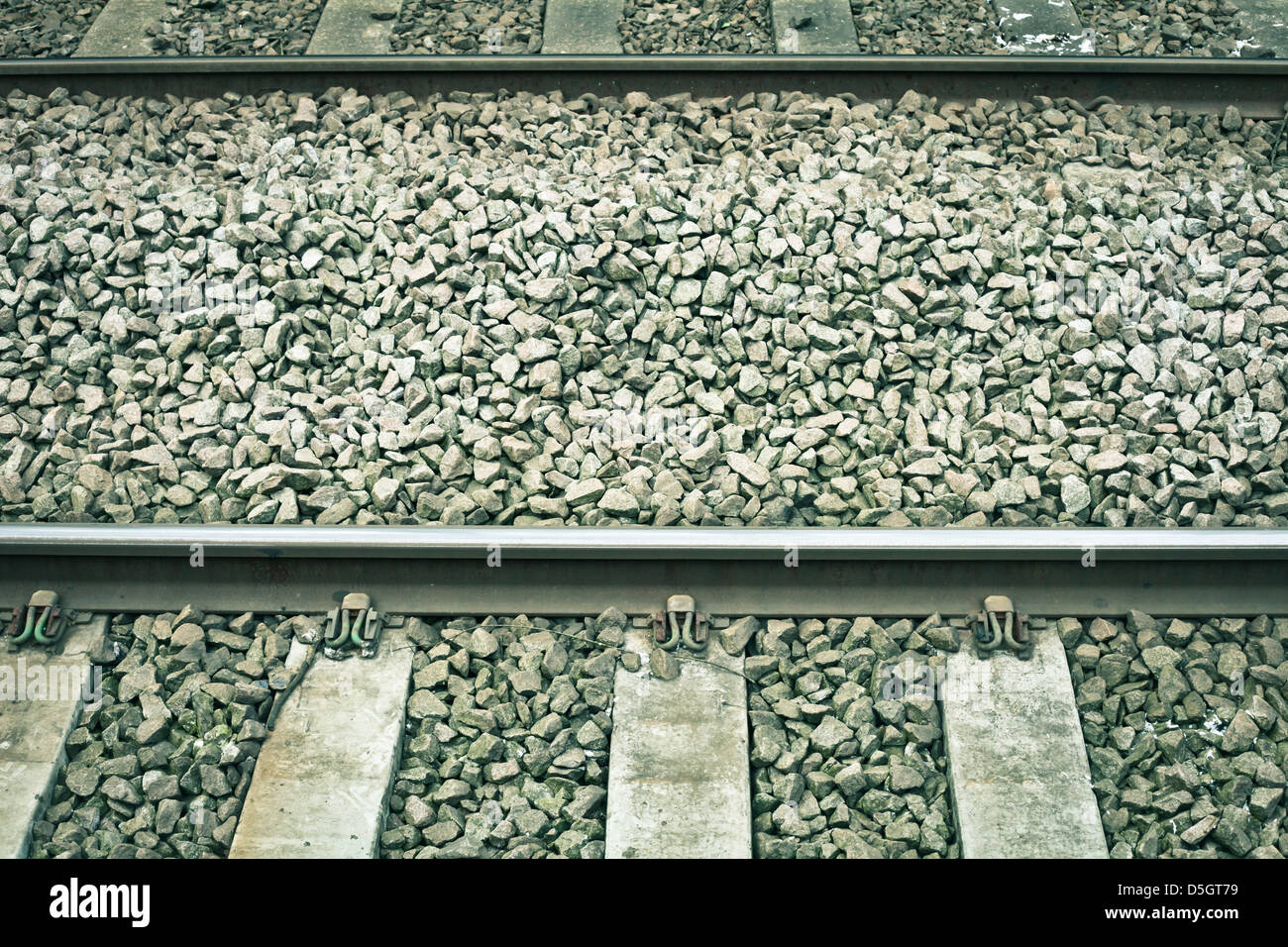 Railway tracks in detail in muted tones - Stock Image