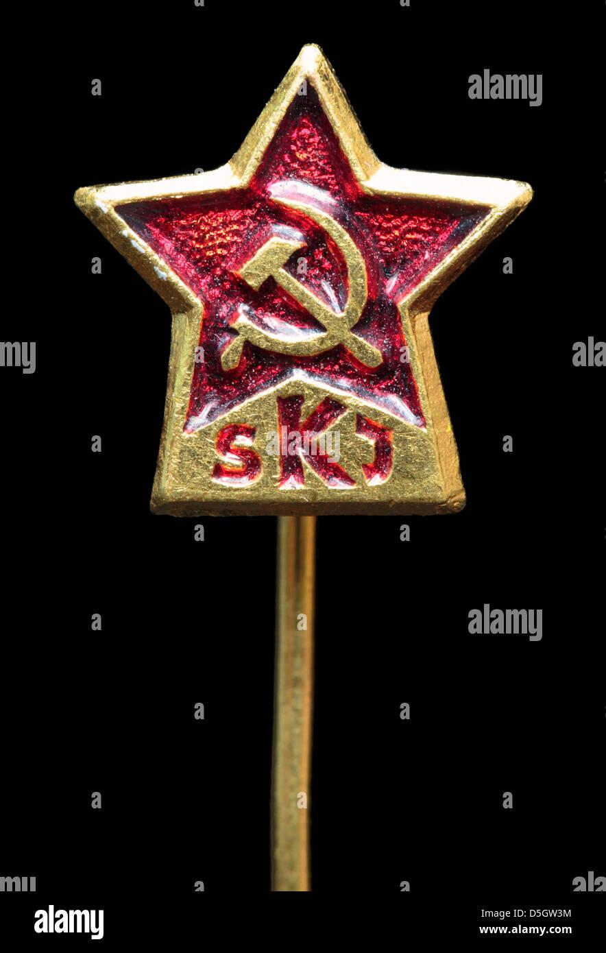 League of Communists of Yugoslavia (Savez komunista Jugoslavije) pin badge, Jugoslavia - Stock Image