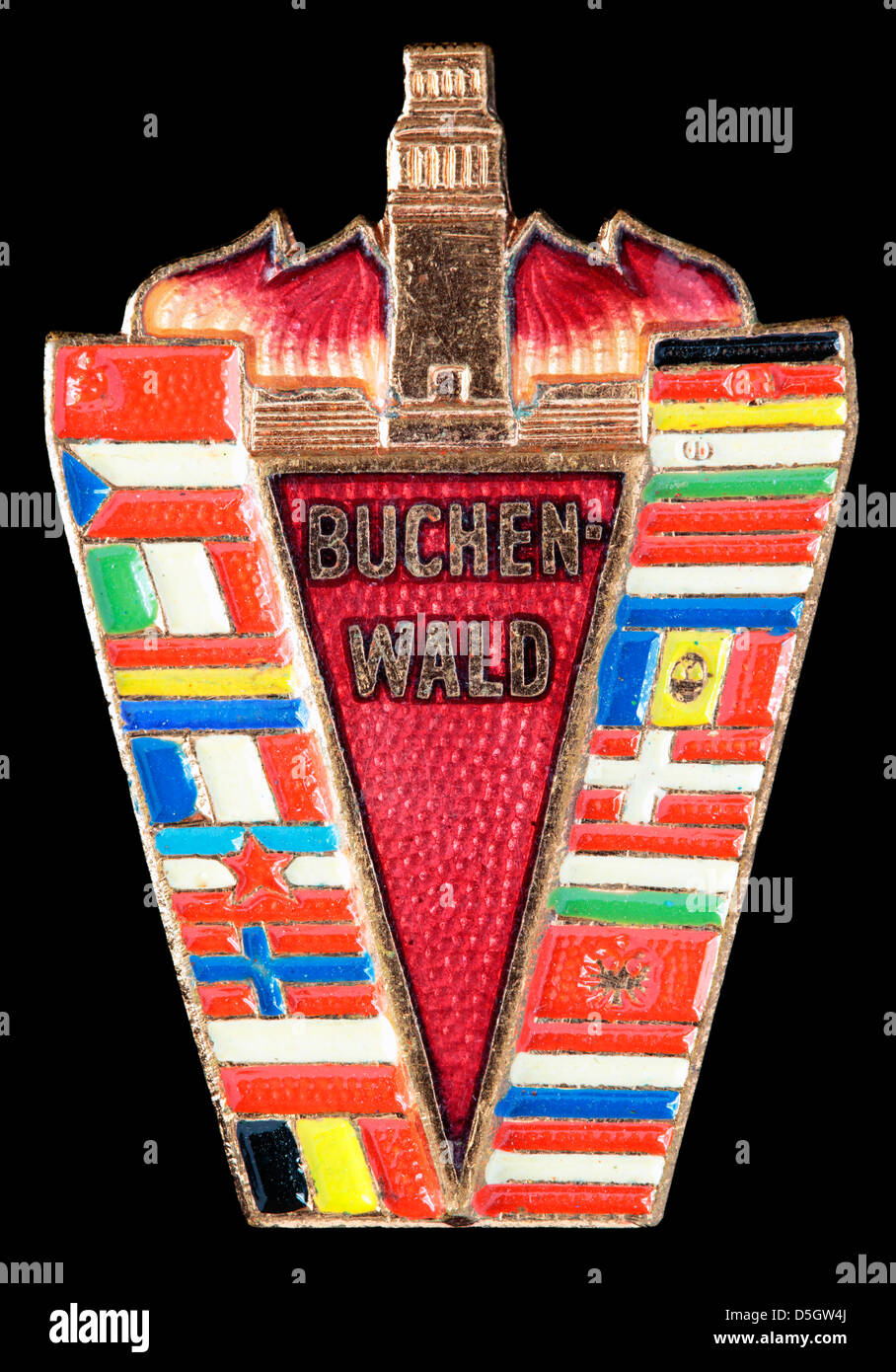 Buchenwald concentration memorial camp pin badge, East Germany, GDR - Stock Image