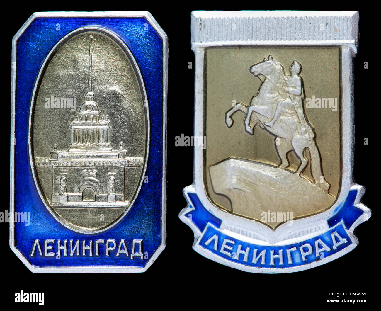 pin badge with Leningrad (St. Petersburg) monuments, Russia, 1980s - Stock Image