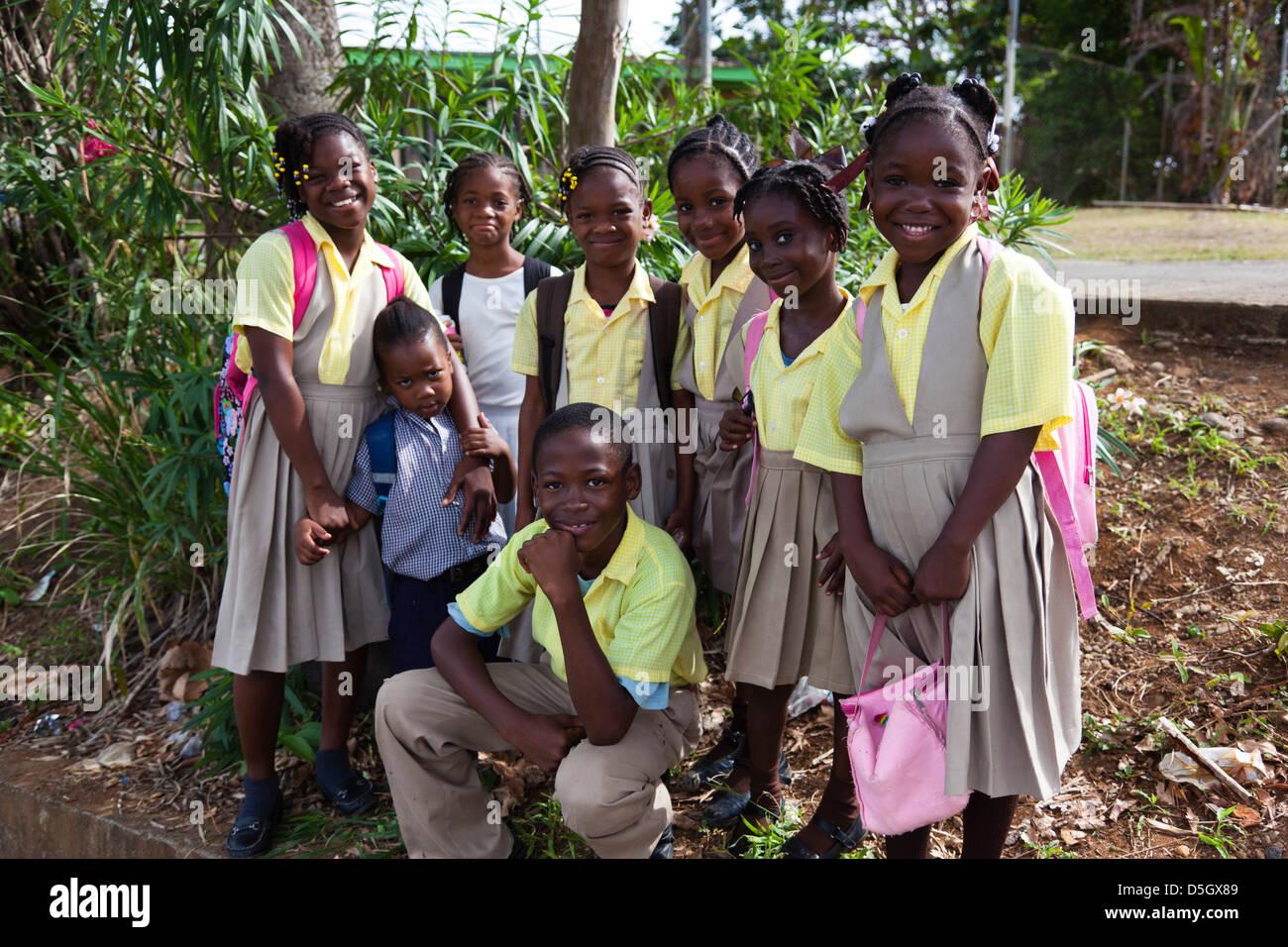 Dominica, Wesley, schoolchildren. - Stock Image