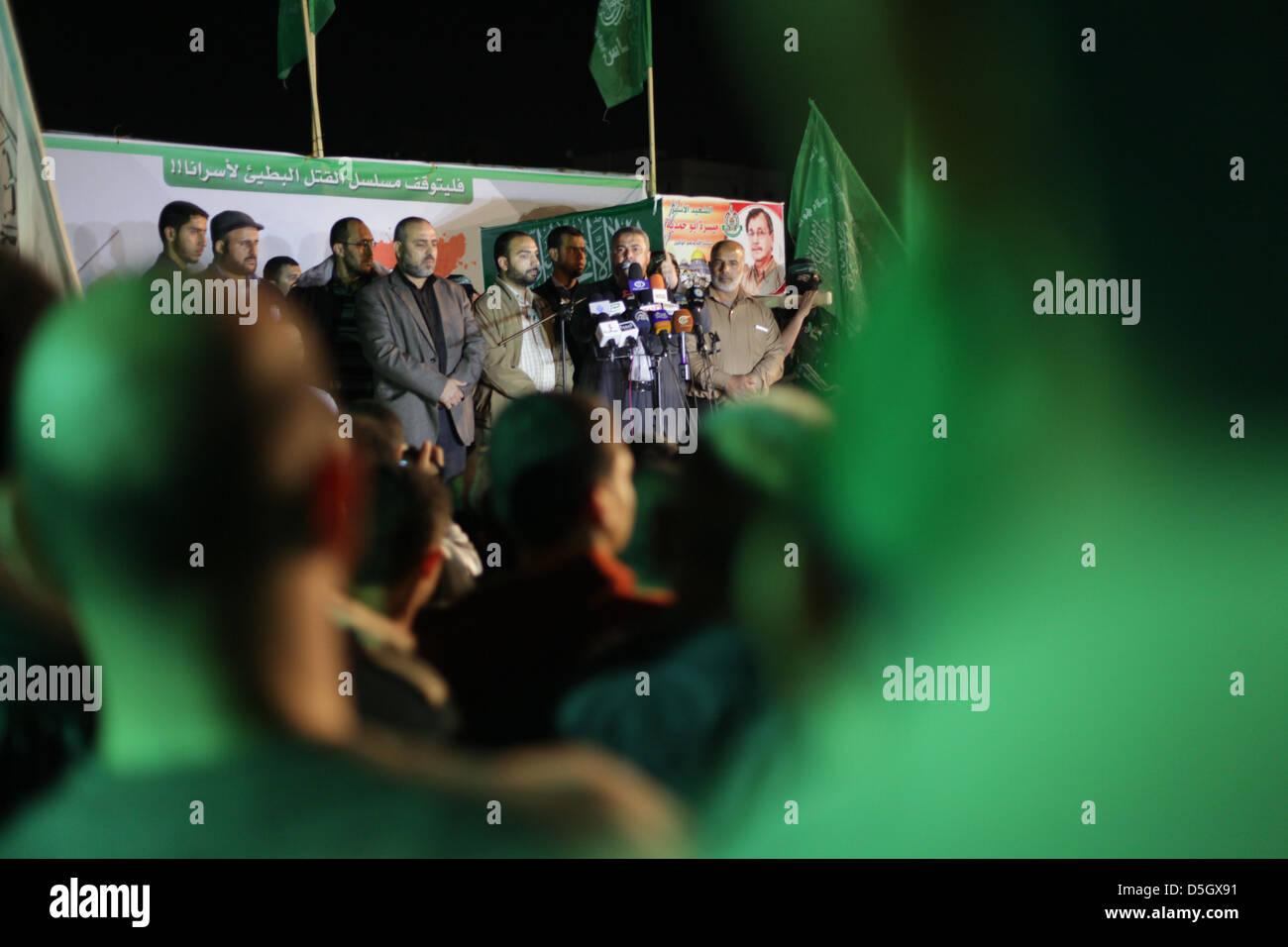"Palestinian Hamas out in Gaza in demonstration against Israelian occupation protest for prisoner ""Maisara, Hamdeya"" Stock Photo"