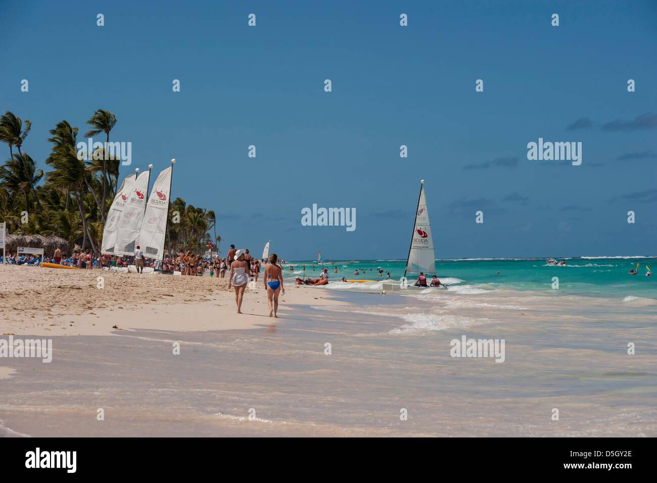 Dominican Republic Punta Cana Higuey Bavaro Beach People And Sailboats