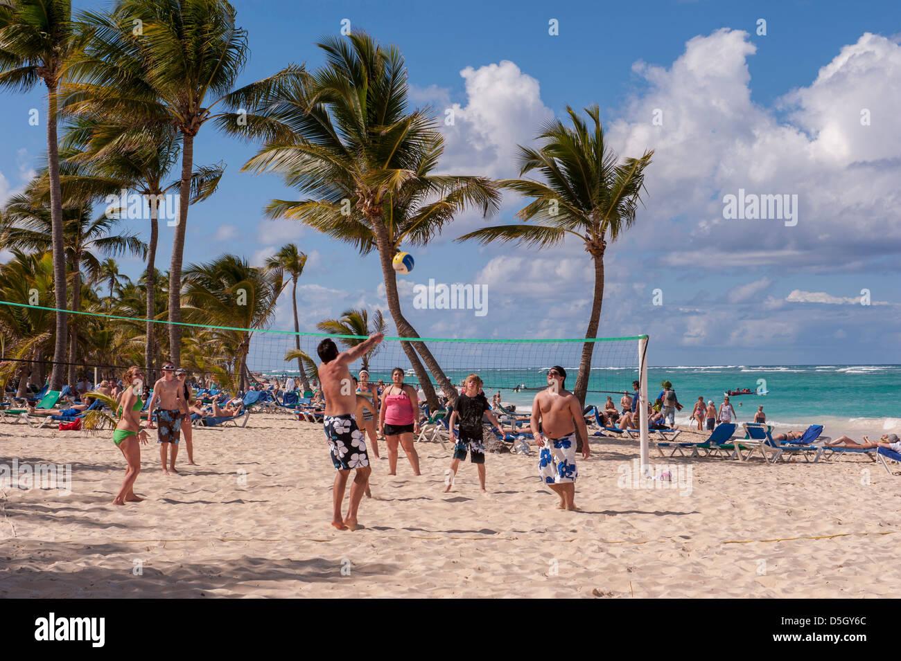 Dominican Republic Punta Cana Higuey Bavaro Riu Palace People Playing Beach Volleyball