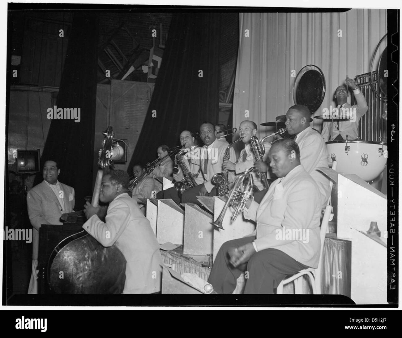 [Portrait of Duke Ellington, Junior Raglin, Tricky Sam Nanton(?), Juan Tizol, Barney Bigard, Ben Webster, Otto Toby - Stock Image