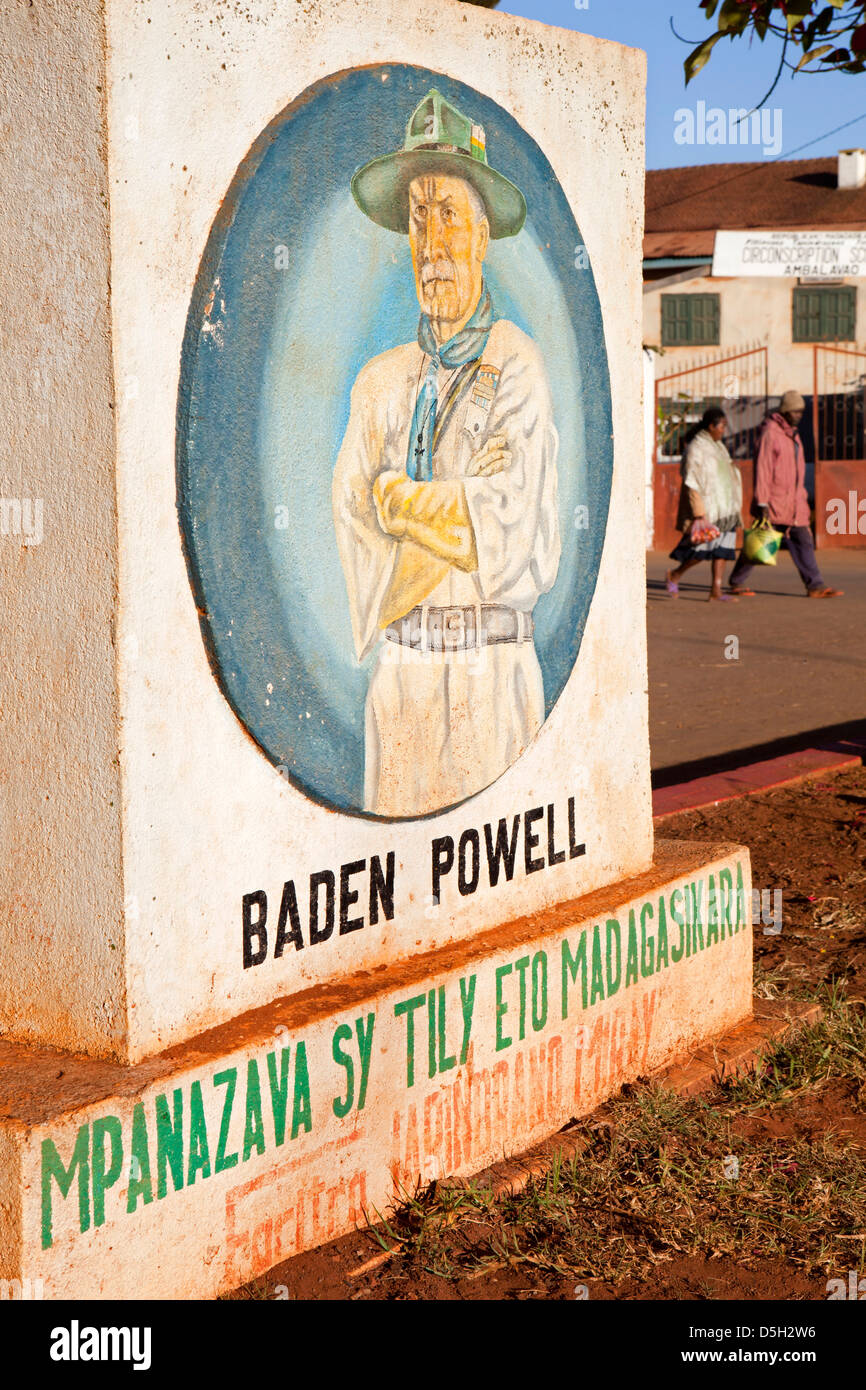 Madagascar, Ambalavao, painted Baden Powell Scout movement memorial - Stock Image