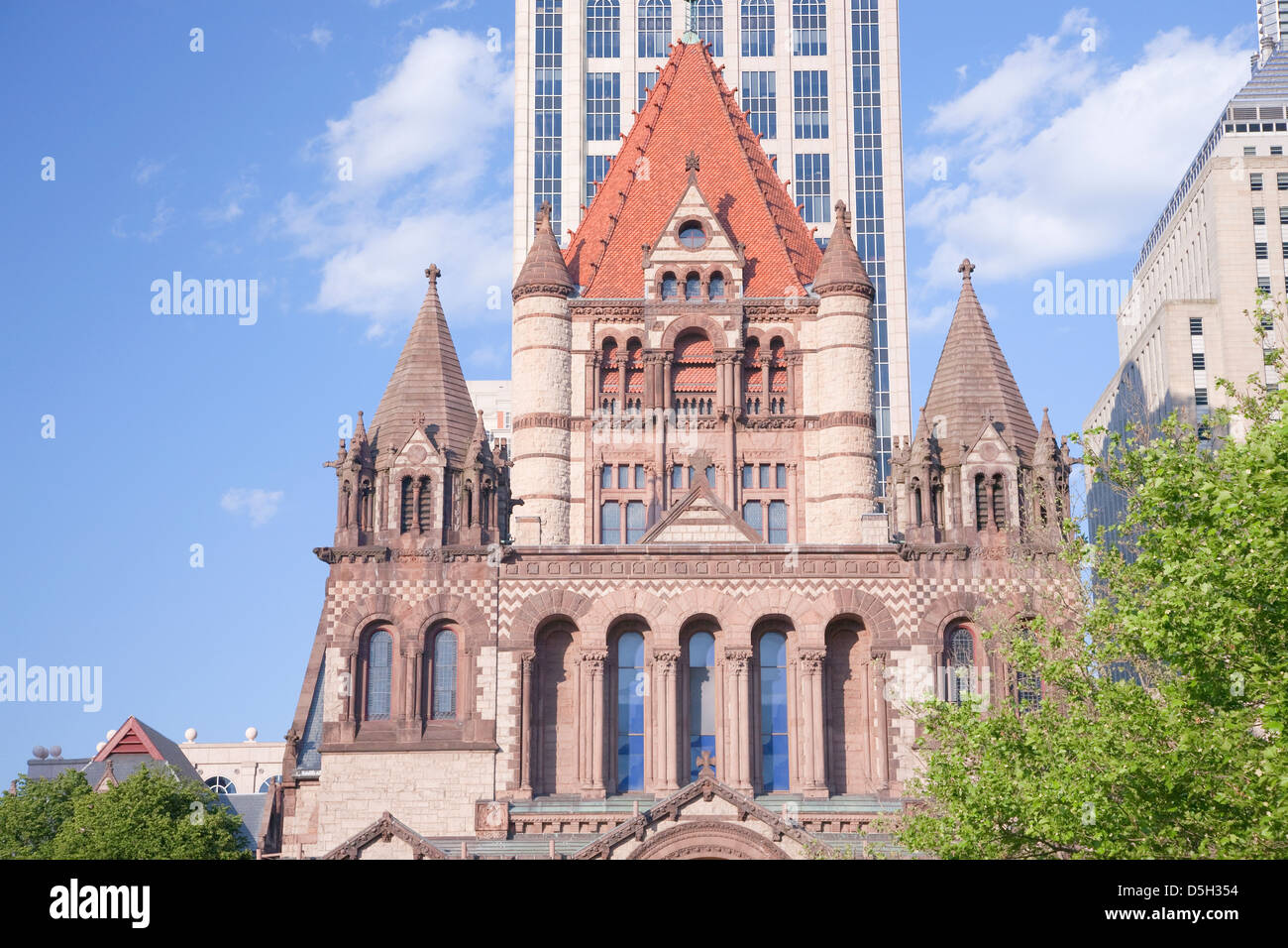 Trinity Church in Copley Square designed by Hobson Richardson, Boston, MA., New England, USA Stock Photo