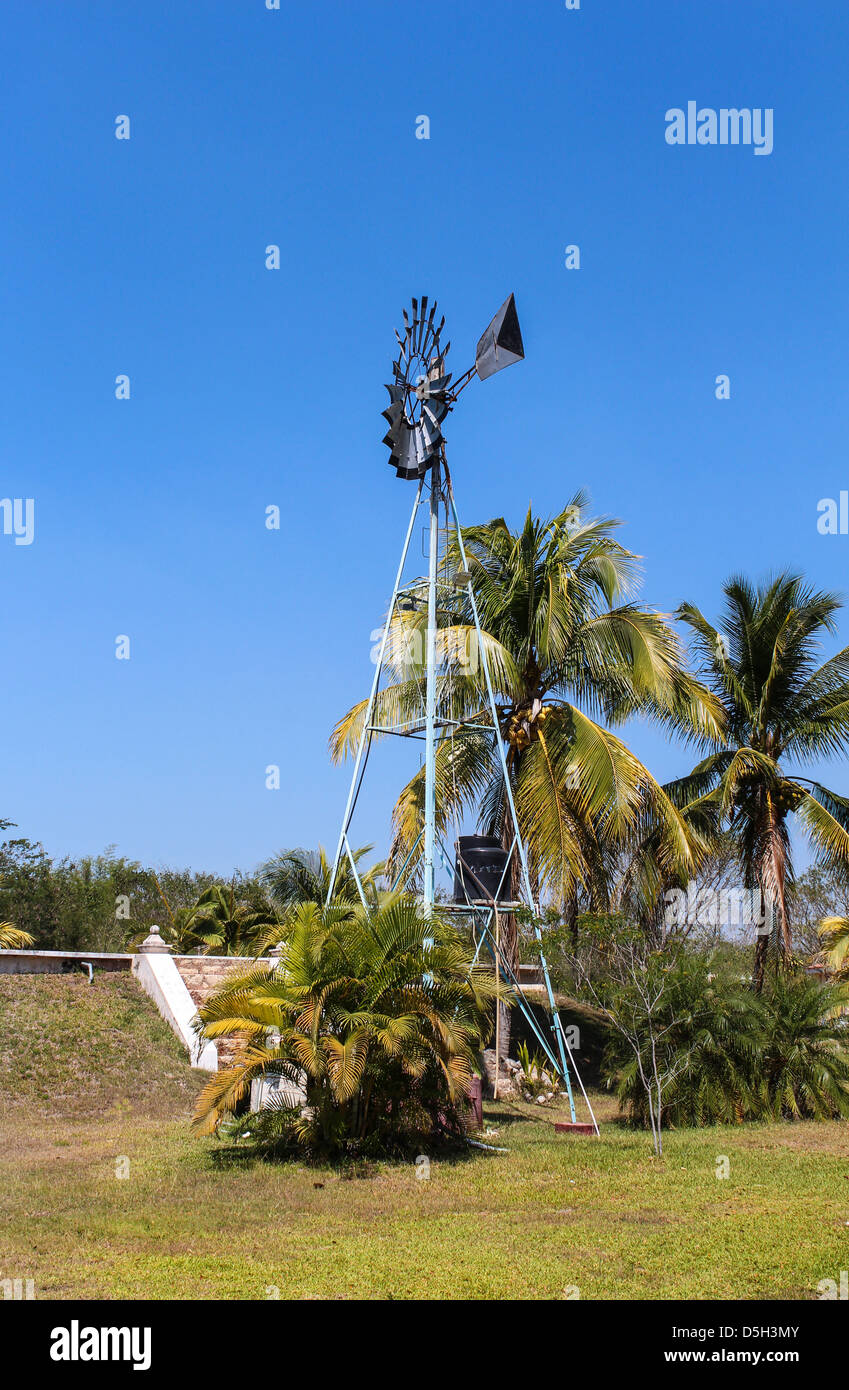 Old Style Windmill For Water Extraction On Yucatan Mexico Stock